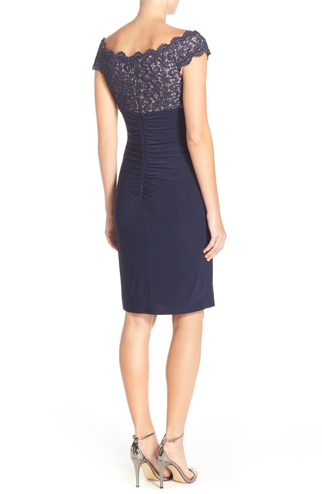 Alternate Image 2  - Xscape Lace & Jersey Off the Shoulder Sheath Dress (Petite)