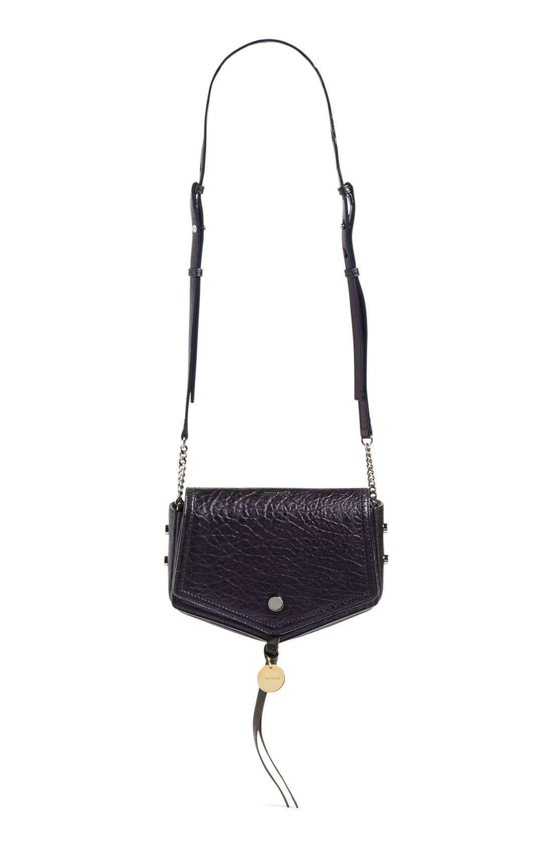 Arrow Metallic Grained Leather Shoulder Bag,                             Main thumbnail 1, color,                             Navy