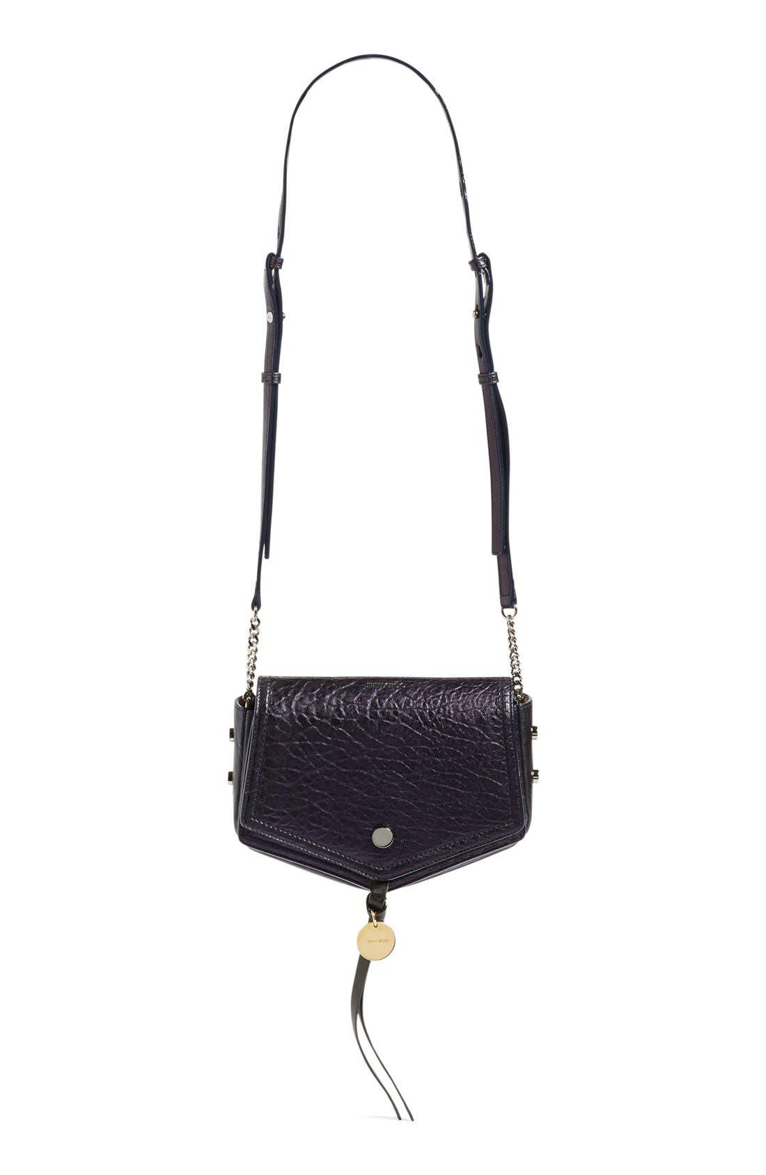 Arrow Metallic Grained Leather Shoulder Bag,                         Main,                         color, Navy