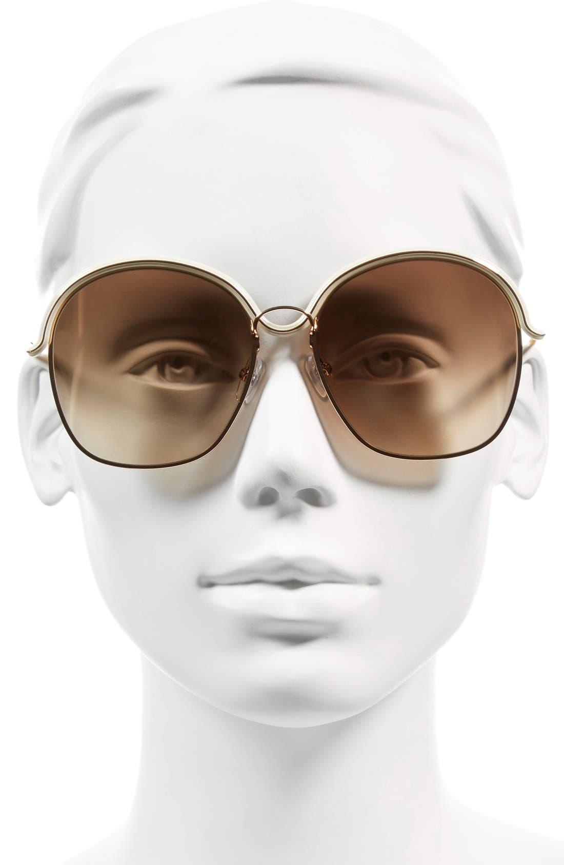 7030/S 58mm Oversized Sunglasses,                             Alternate thumbnail 2, color,                             Gold/ Beige