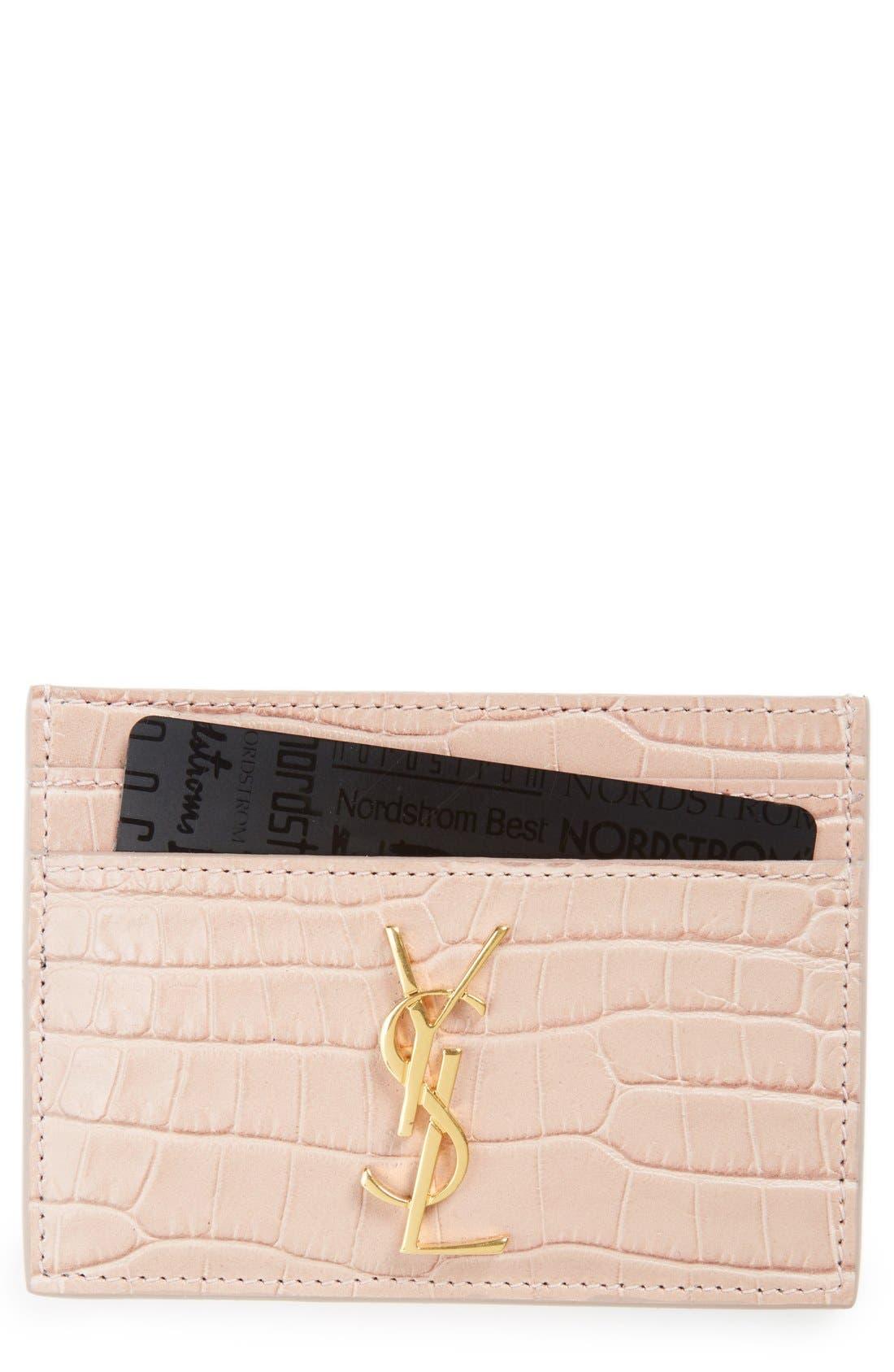 Main Image - Saint Laurent Monogram Croc Embossed Leather Card Case
