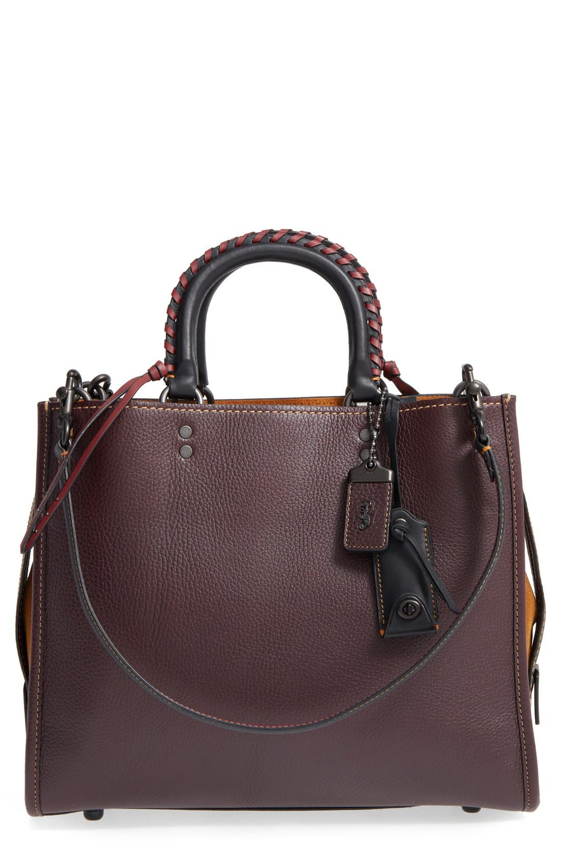 Embellished Handle Rogue Leather Satchel,                         Main,                         color, Oxblood