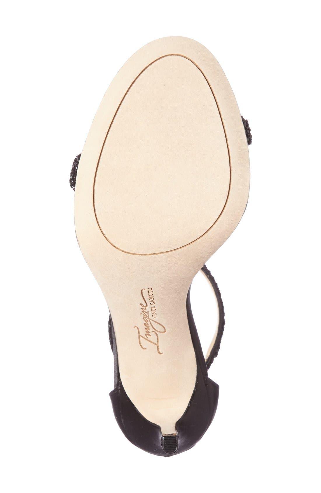 'Phoebe' Embellished T-Strap Sandal,                             Alternate thumbnail 4, color,                             Black Satin