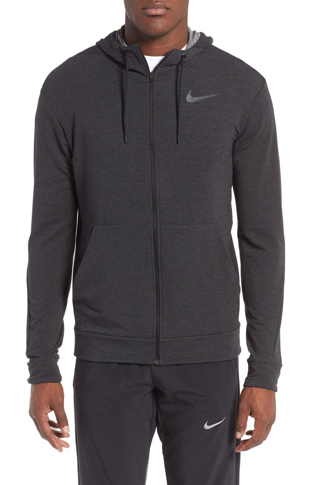 Alternate Image 1 Selected - Nike Dri-Fit Training Fleece Hooded Sweatshirt