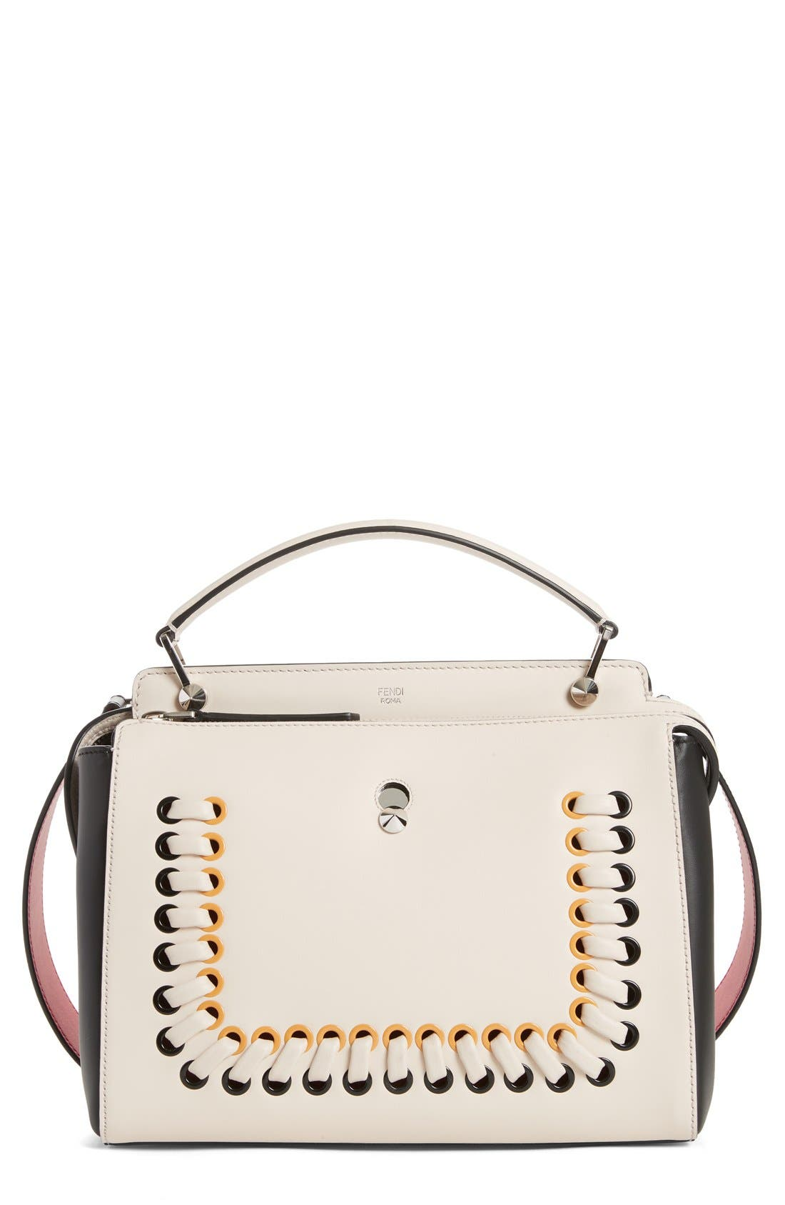 DOTCOM Tricolor Whipstich Calfskin Satchel,                         Main,                         color, White/ Brown/ Yellow