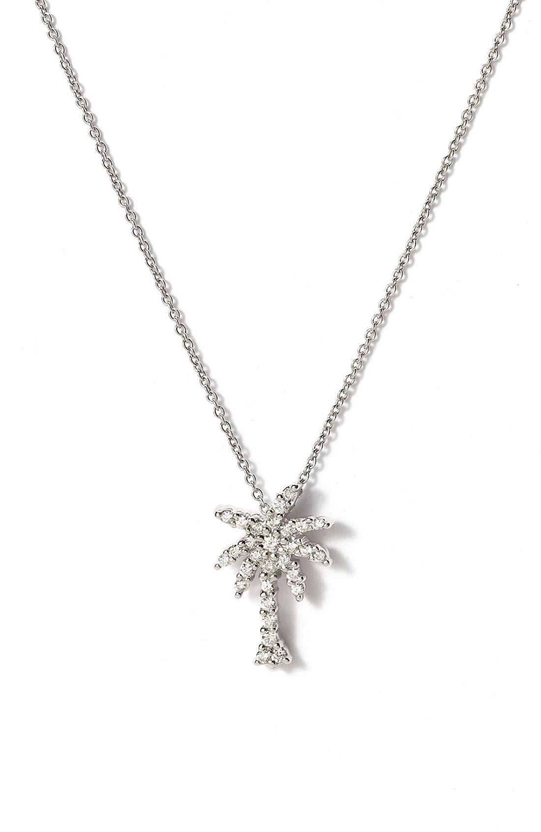 'Tiny Treasures' Palm Tree Diamond Pendant,                             Main thumbnail 1, color,                             White Gold