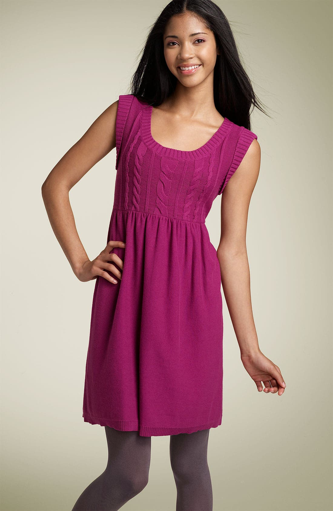 Rubbish® Cap Sleeve Cable Knit Minidress (Juniors)