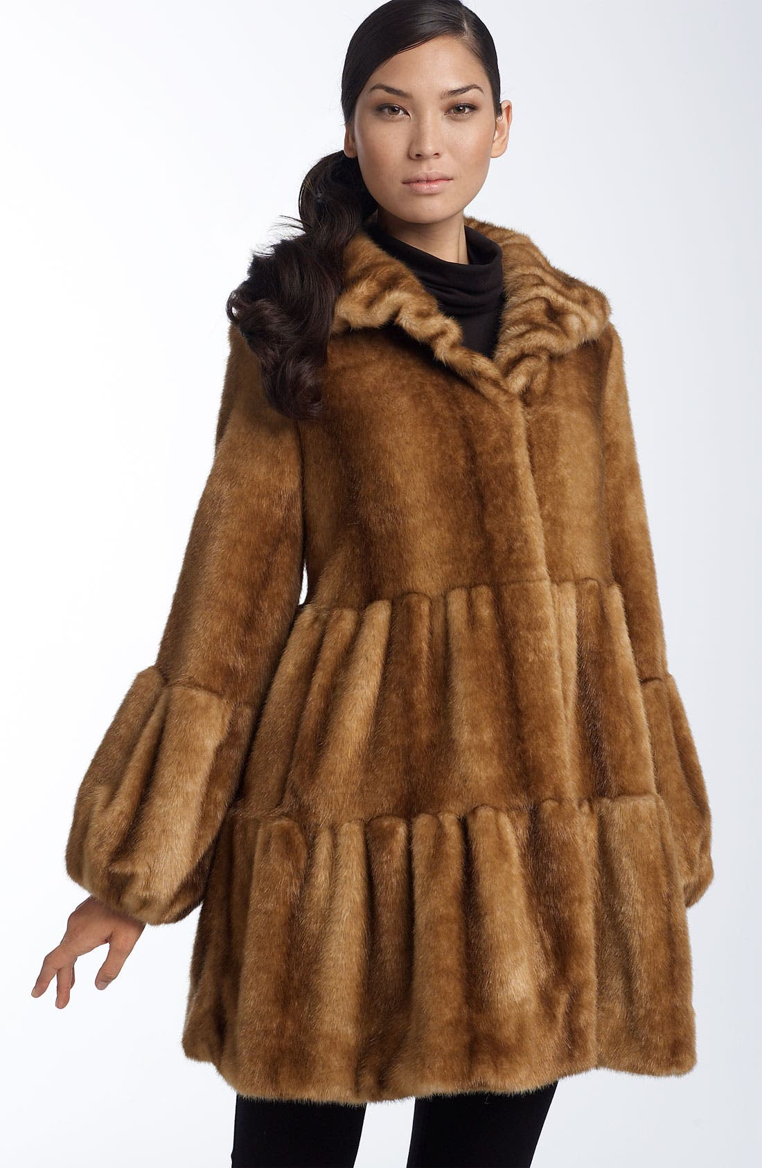 Faux Fur Tiered Coat by Jones New York
