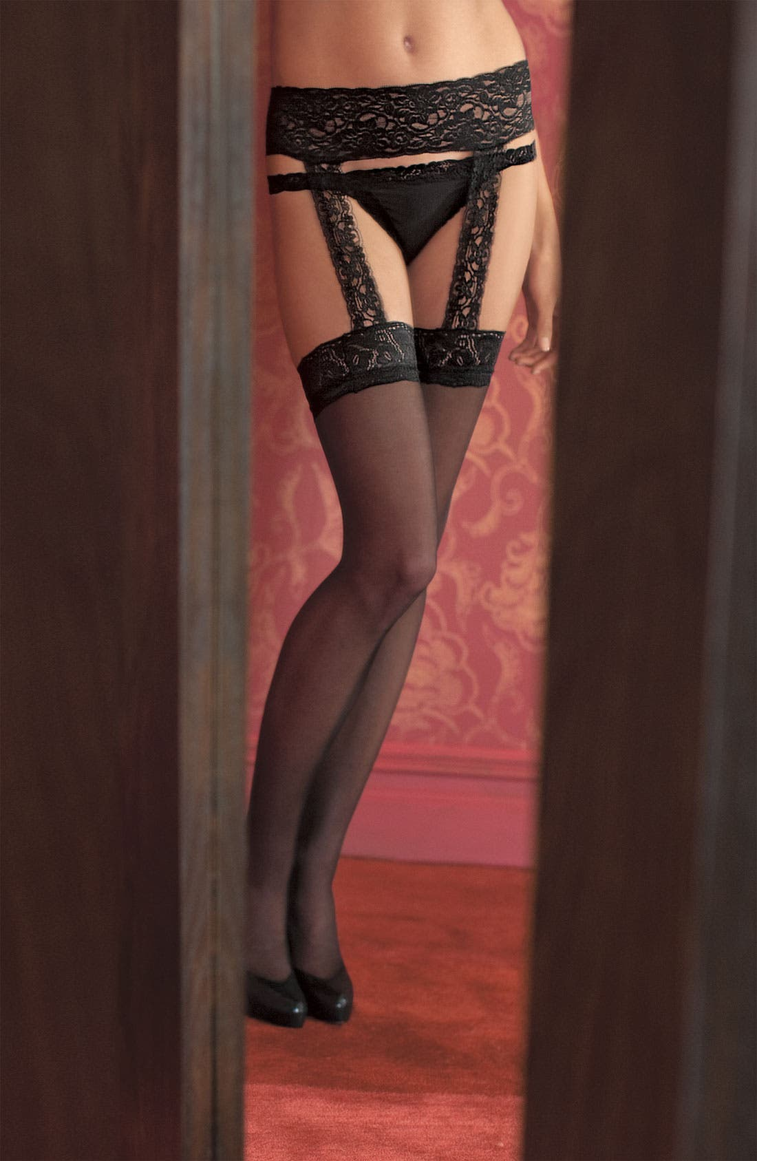 Alternate Image 2  - Calvin Klein Lace Garter Stockings