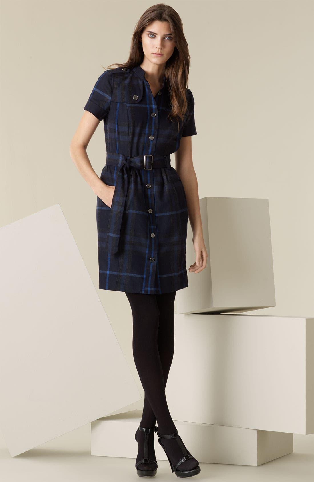 Main Image - Burberry Brit Back Zip Flannel Shirtdress