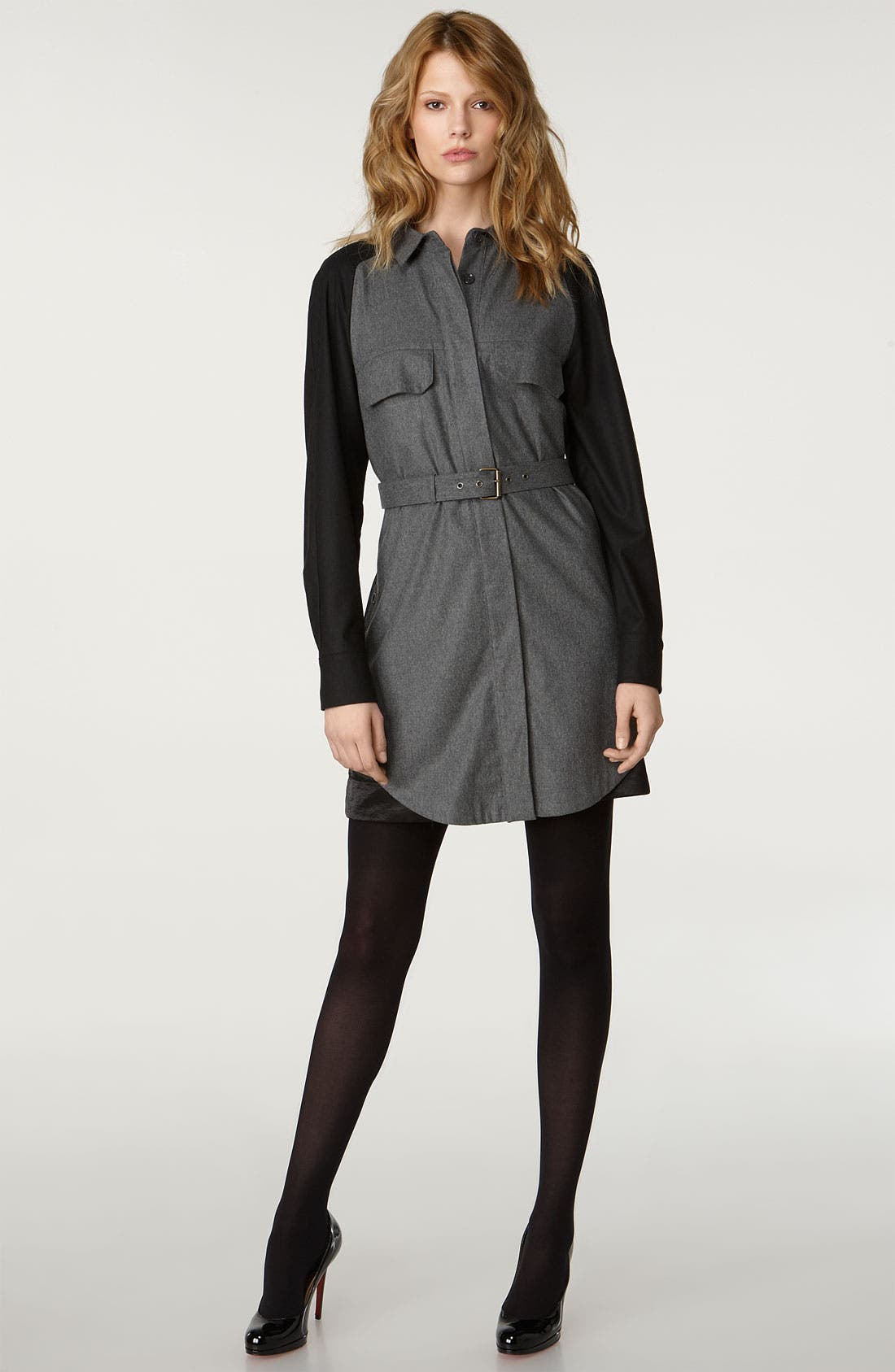 Main Image - See by Chloé Two Tone Flannel Shirtdress