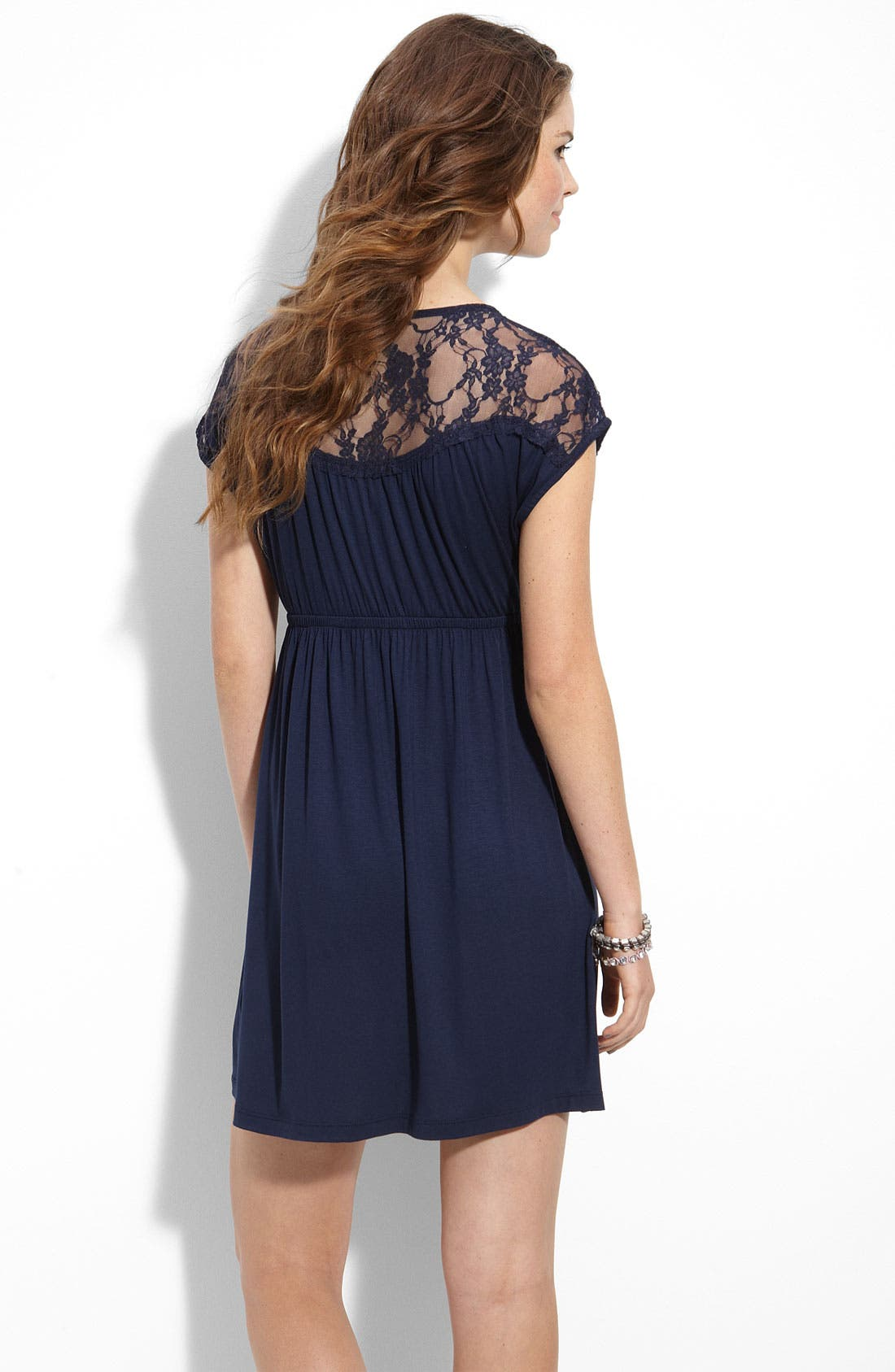 Alternate Image 2  - Lush 'Kimono' Lace Trim Dress (Juniors)