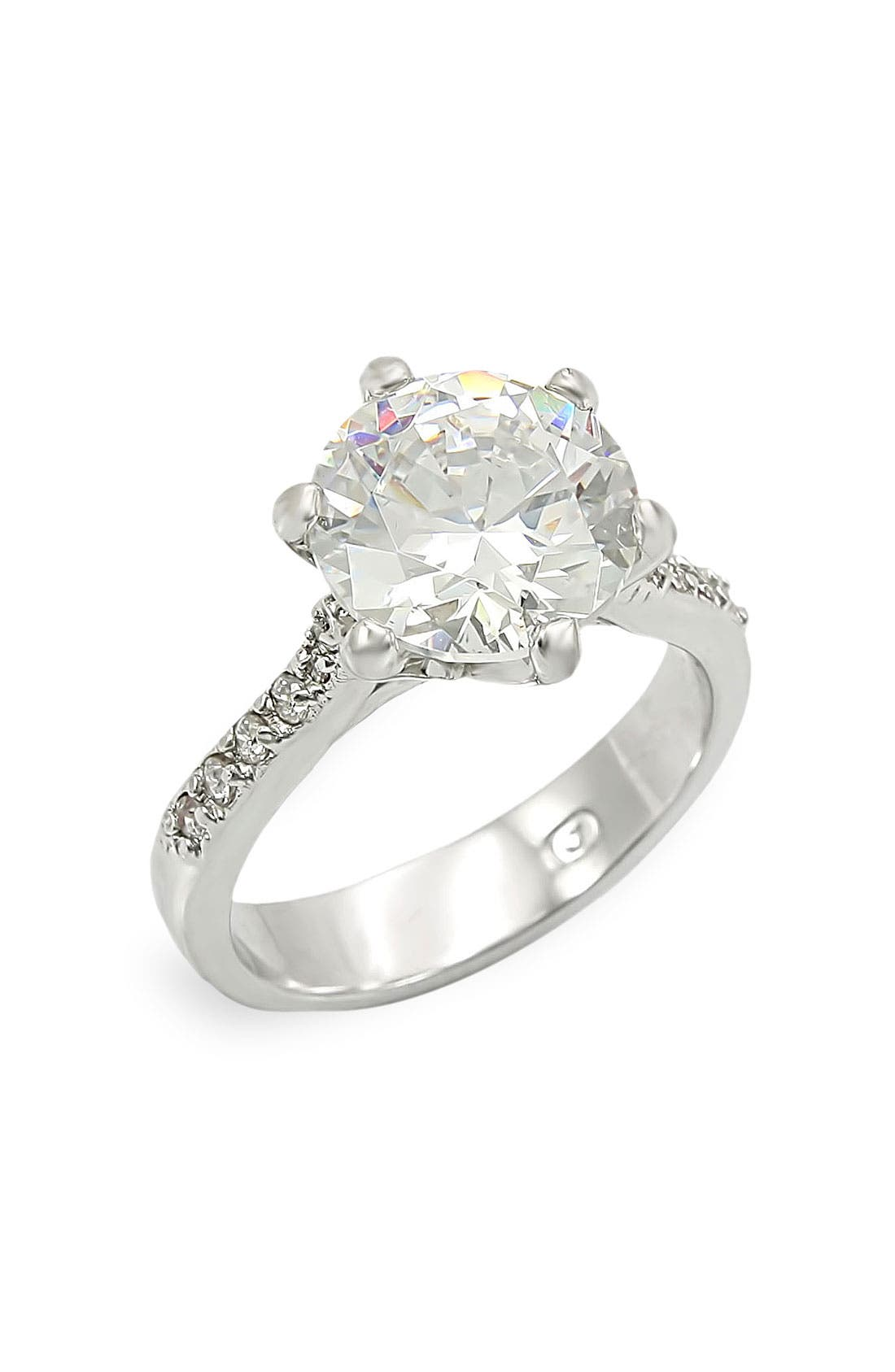 Alternate Image 1 Selected - Ariella Collection Round Cut Cubic Zirconia Ring