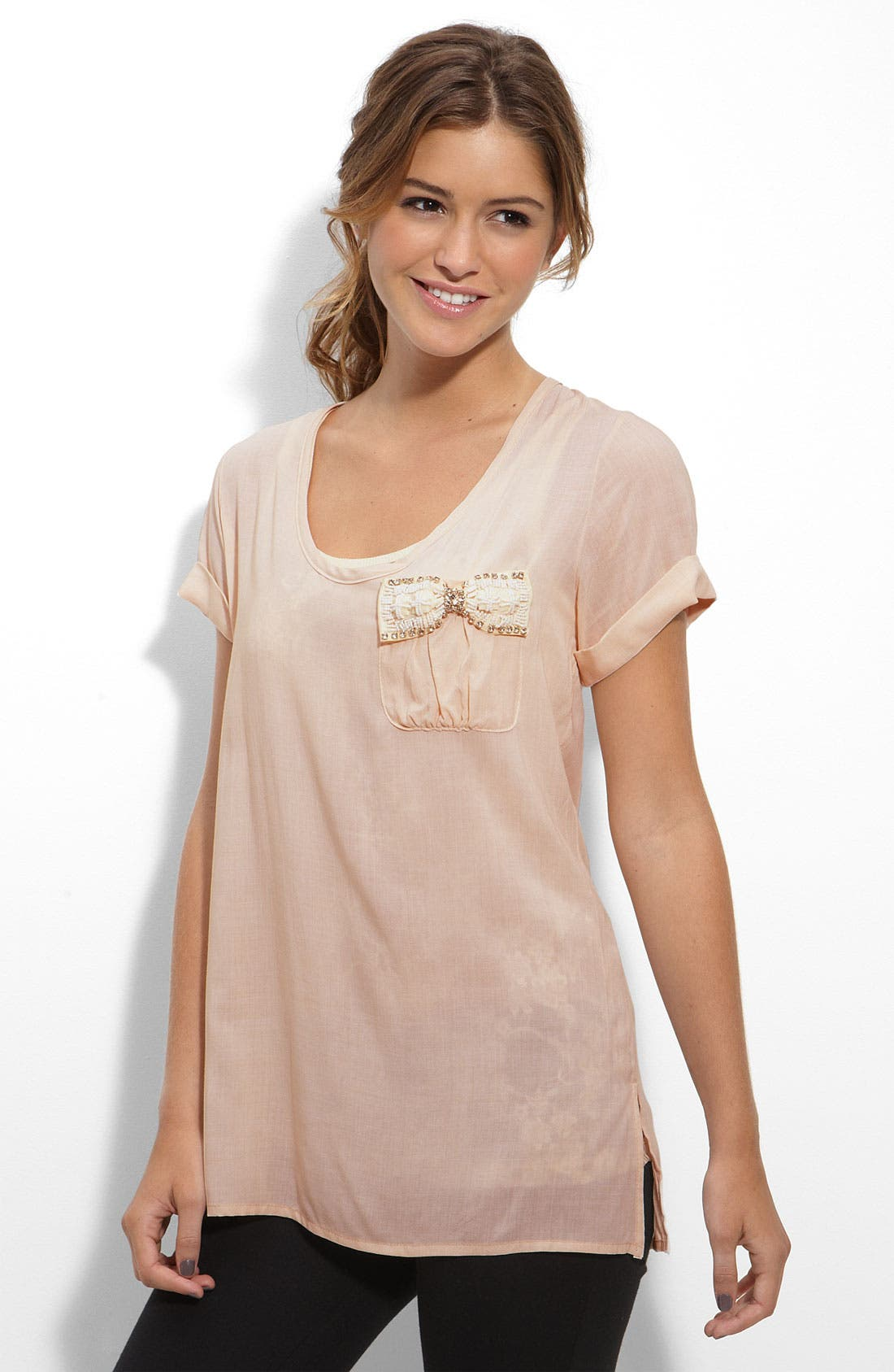Alternate Image 1 Selected - WallpapHer Bow Pocket Top (Juniors)