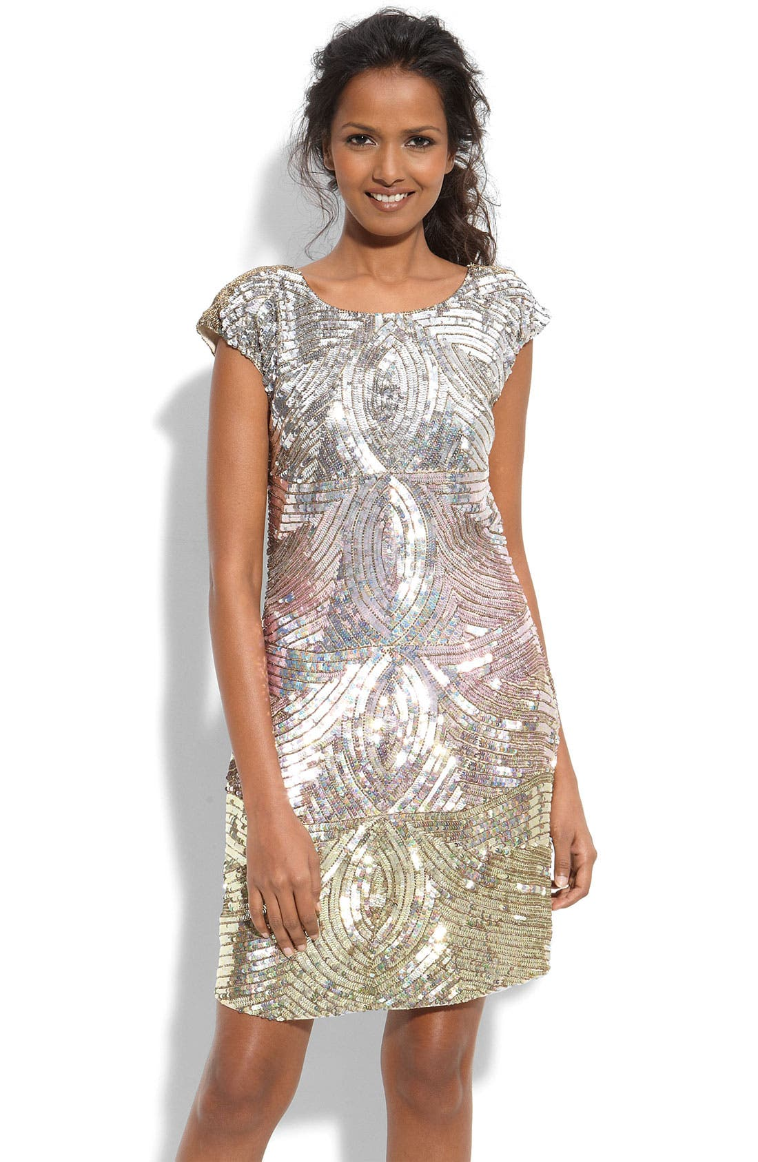 Main Image - Adrianna Papell Ombré Sequin Shift Dress