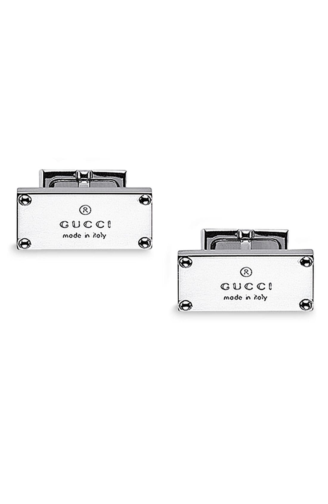 Alternate Image 1 Selected - Gucci Branded Sterling Silver Cuff Links