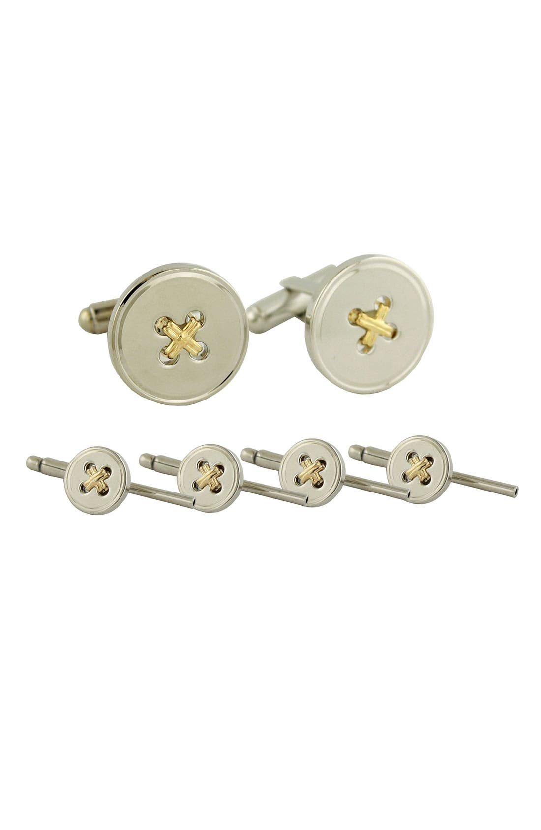 'Button' Cuff Link & Stud Set,                             Main thumbnail 1, color,                             Silver/ 14K Threads Stud Set