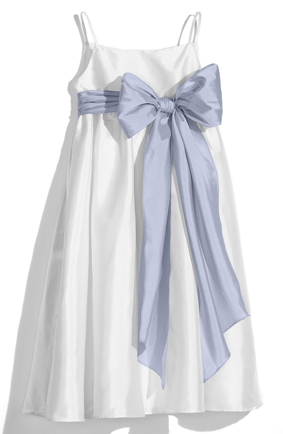 White Sleeveless Empire Waist Taffeta Dress,                             Main thumbnail 1, color,                             White/ Pewter