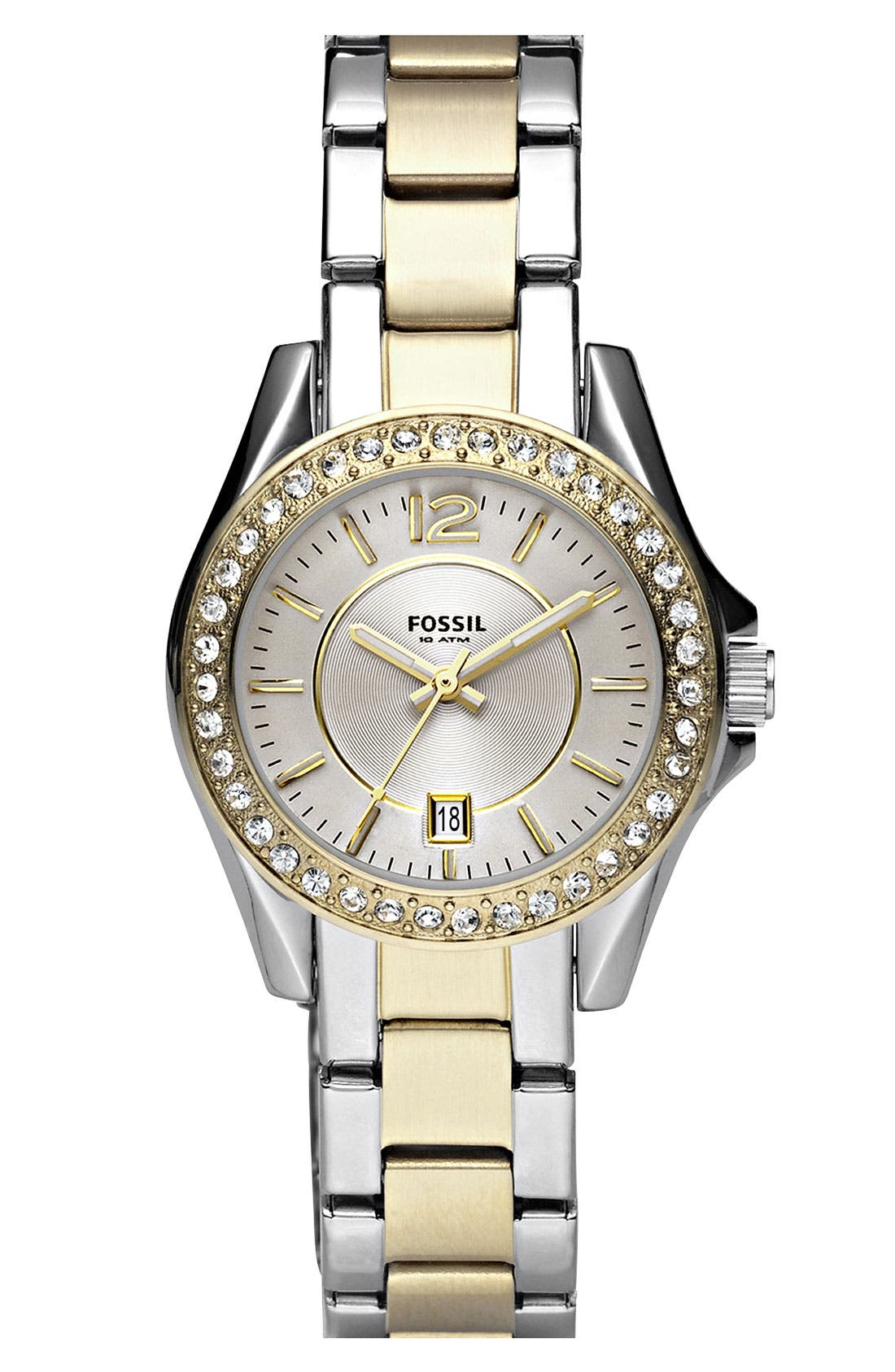 Alternate Image 1 Selected - Fossil 'Small Riley' Round Bracelet Watch