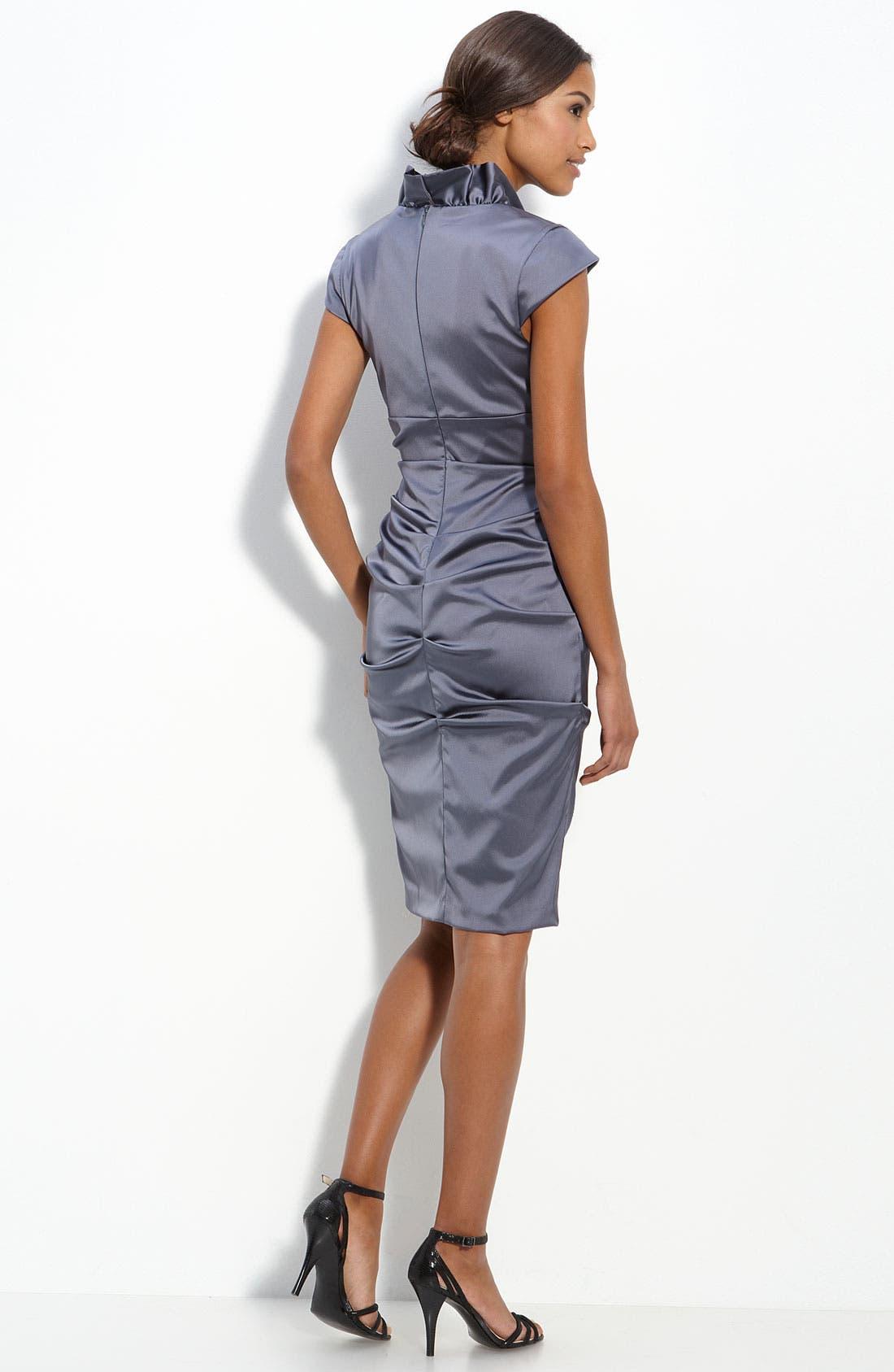Alternate Image 2  - Xscape Ruffle Collar Stretch Satin Sheath Dress