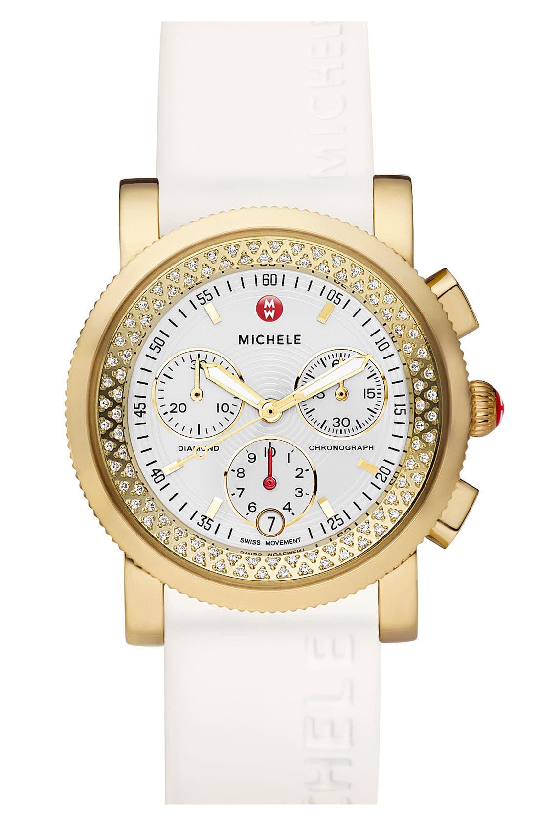 Alternate Image 2  - MICHELE 'Sport Sail' Diamond Gold Customizable Watch
