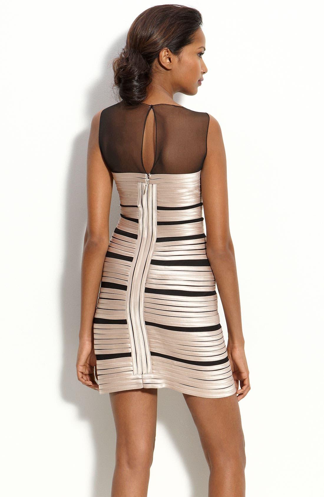 Alternate Image 2  - BCBGMAXAZRIA Illusion Bodice Satin Stripe Sheath Dress