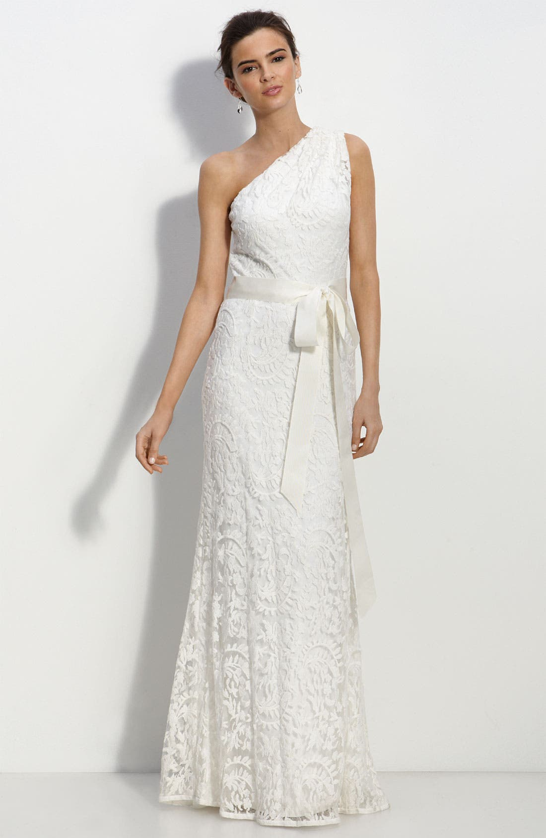 One Shoulder Lace Gown,                         Main,                         color, Ivory