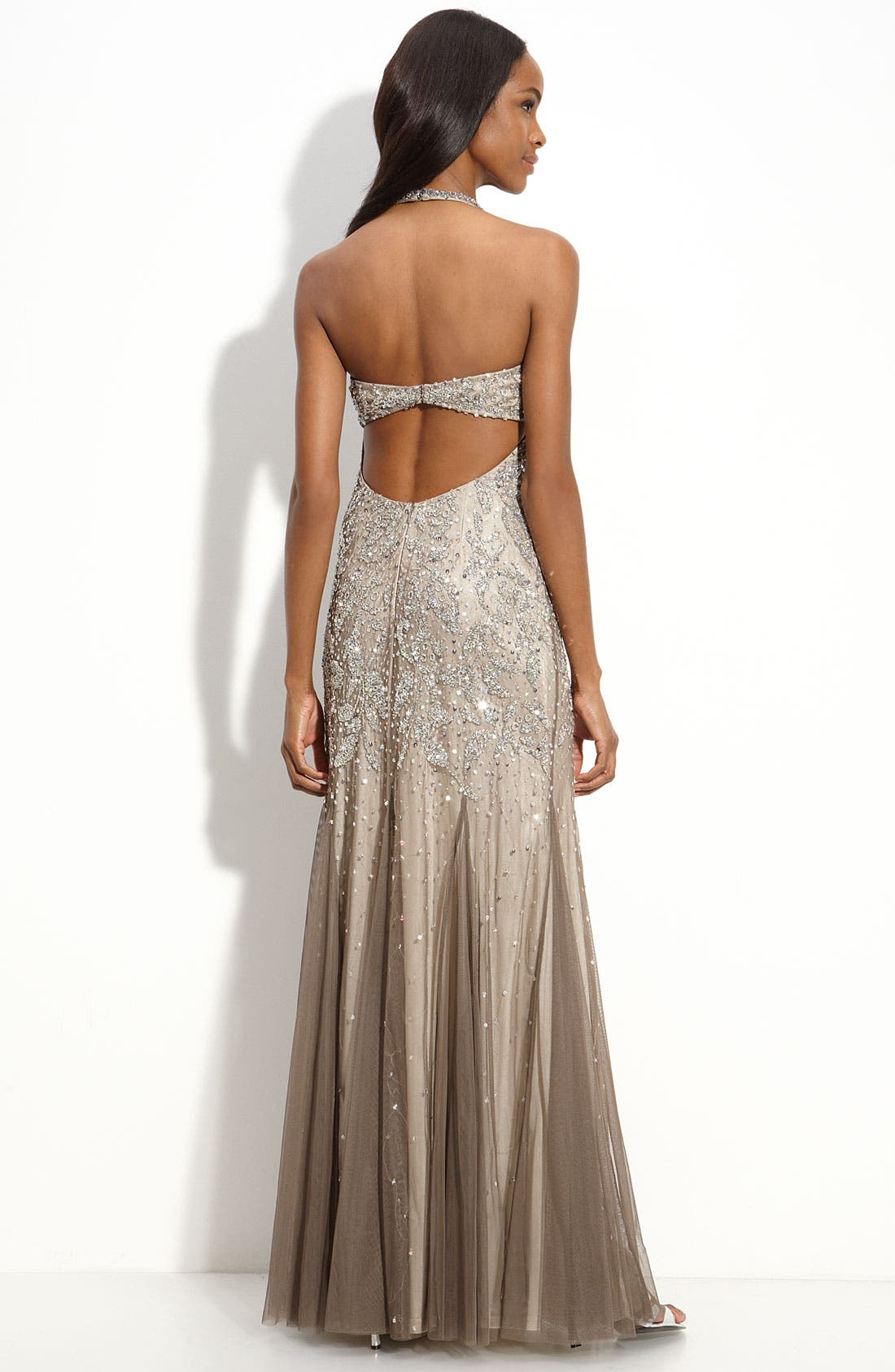 Alternate Image 2  - Adrianna Papell Beaded Mesh Halter Gown