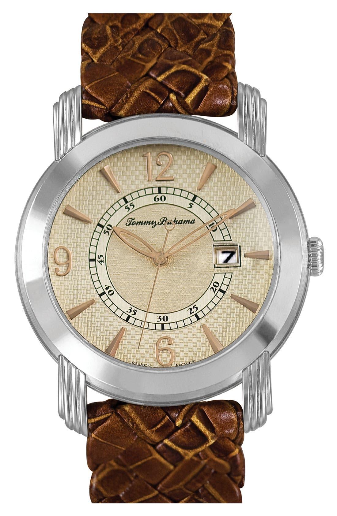 Main Image - Tommy Bahama 'Charleston' Braided Strap Round Watch, 42mm