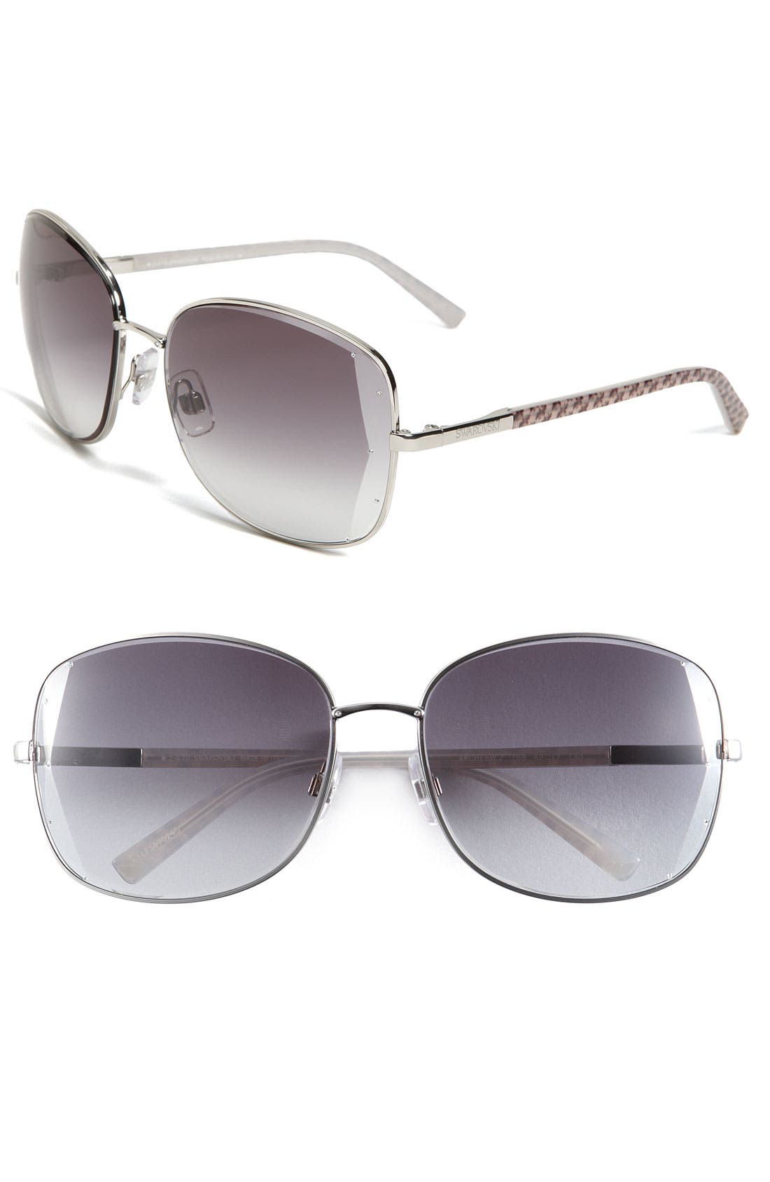 Main Image - Swarovski Beveled Edge Metal Sunglasses
