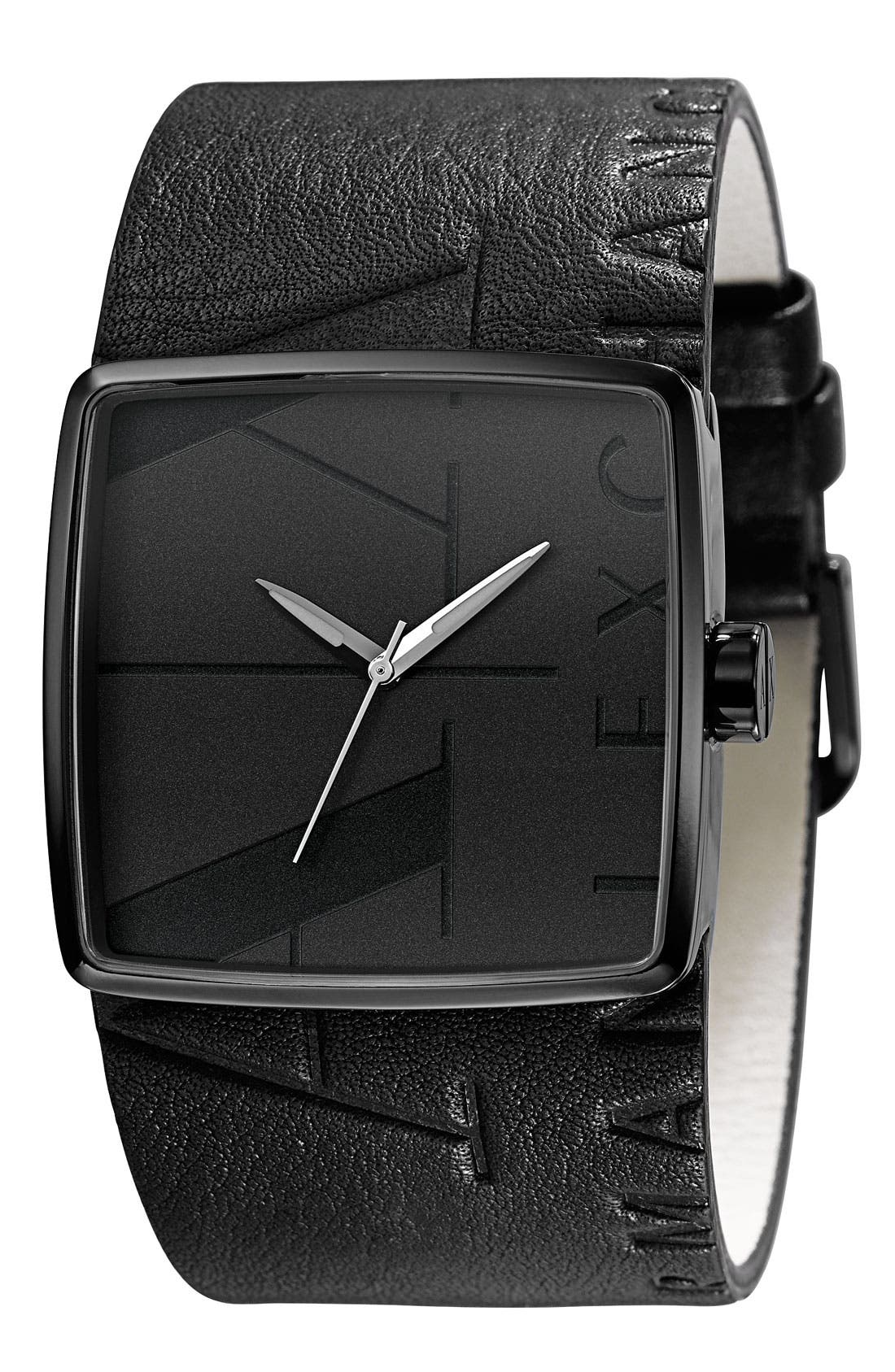 Alternate Image 1 Selected - AX Armani Exchange Square Logo Watch, 38mm