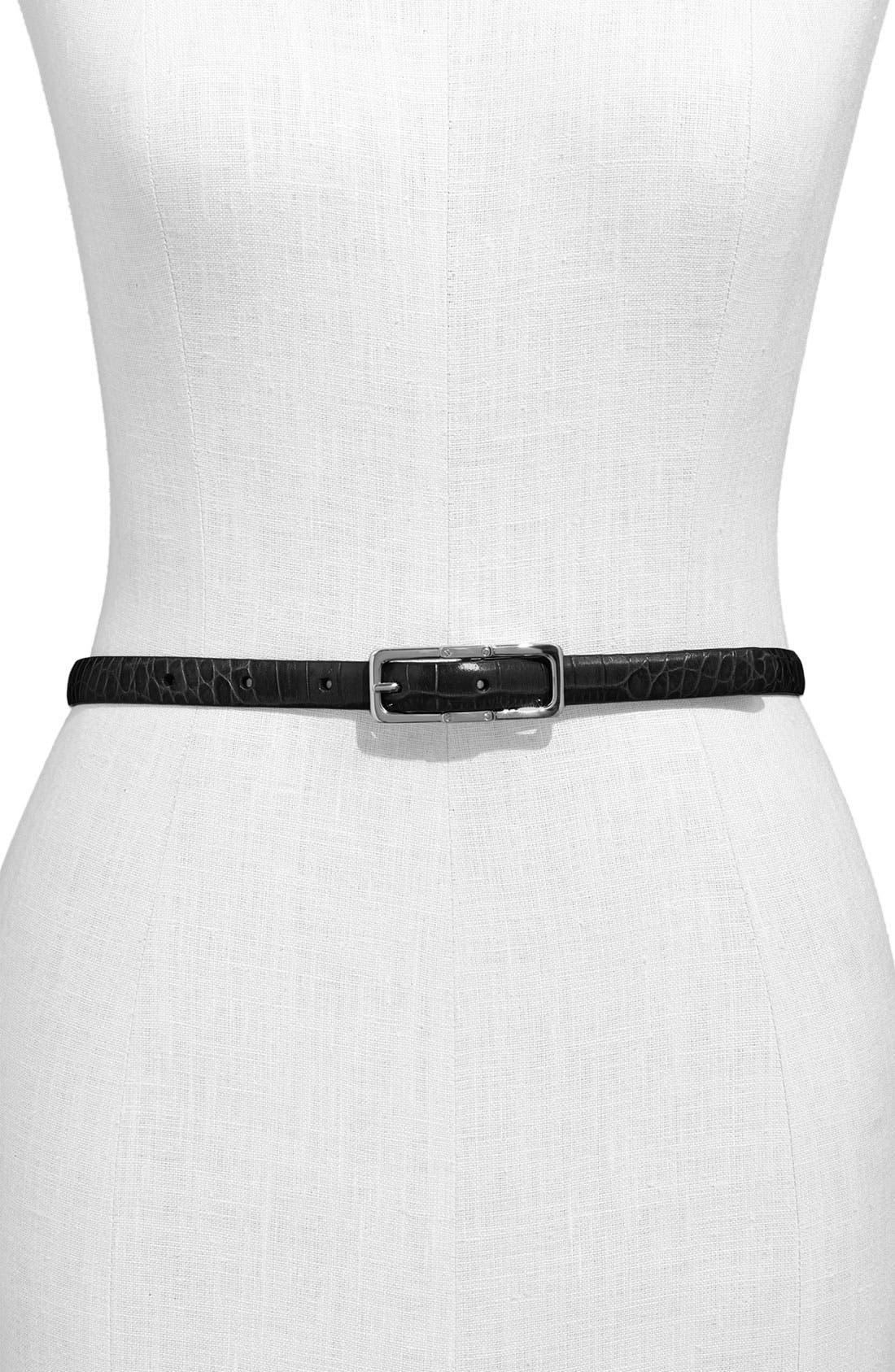 Main Image - Lauren Ralph Lauren Croc Embossed Reversible Belt
