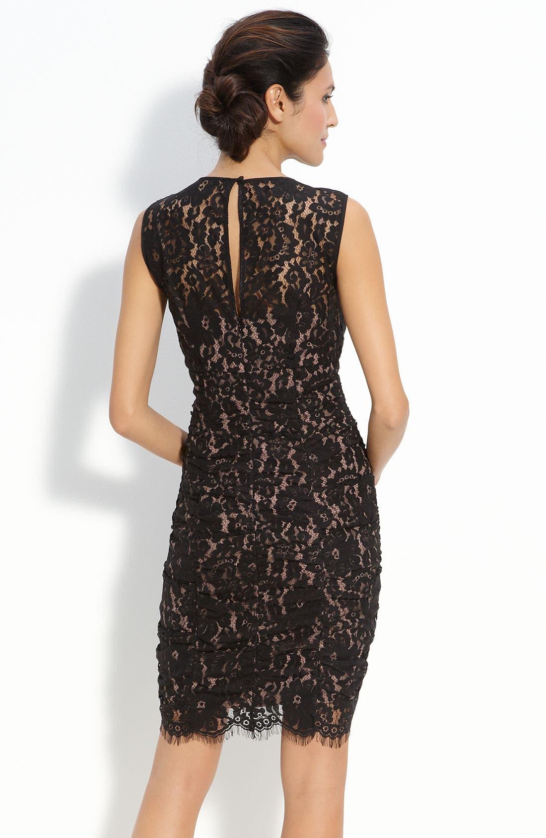 Alternate Image 2  - Eliza J Ruched Lace Sheath Dress