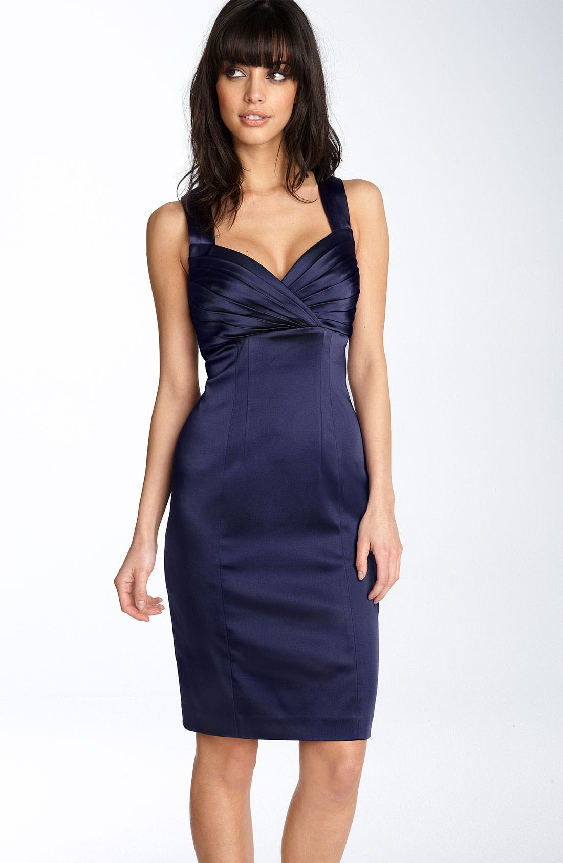 Alternate Image 1 Selected - Calvin Klein Pleated Bodice Stretch Satin Sheath Dress