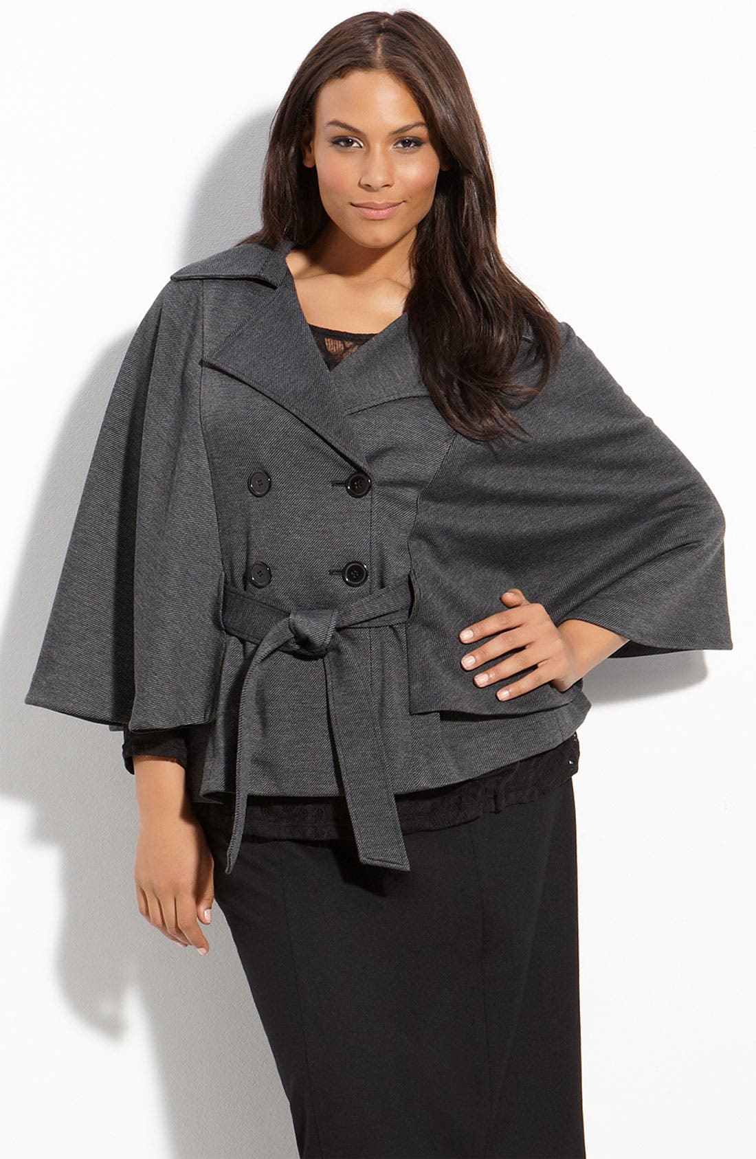 Belted Cape,                             Main thumbnail 1, color,                             Grey/ Black Twill