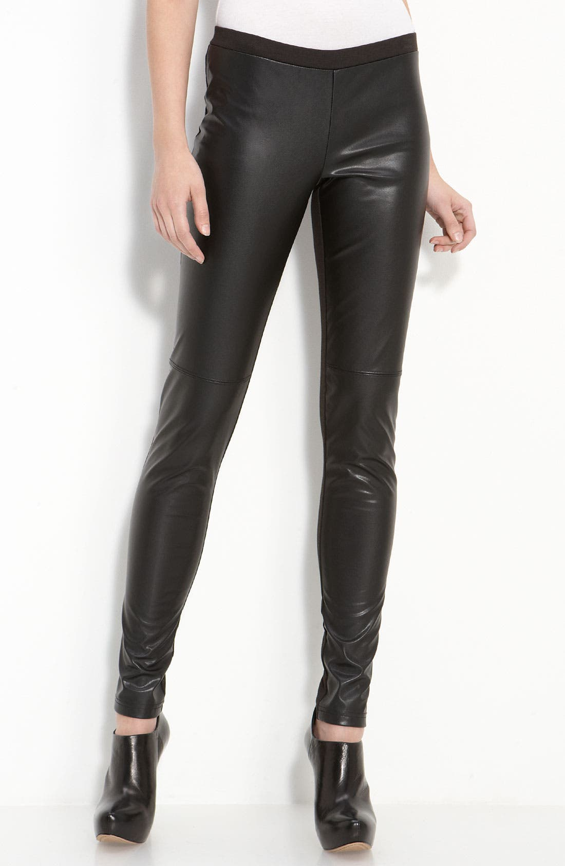 Alternate Image 1 Selected - Trouvé Faux Leather Front Leggings