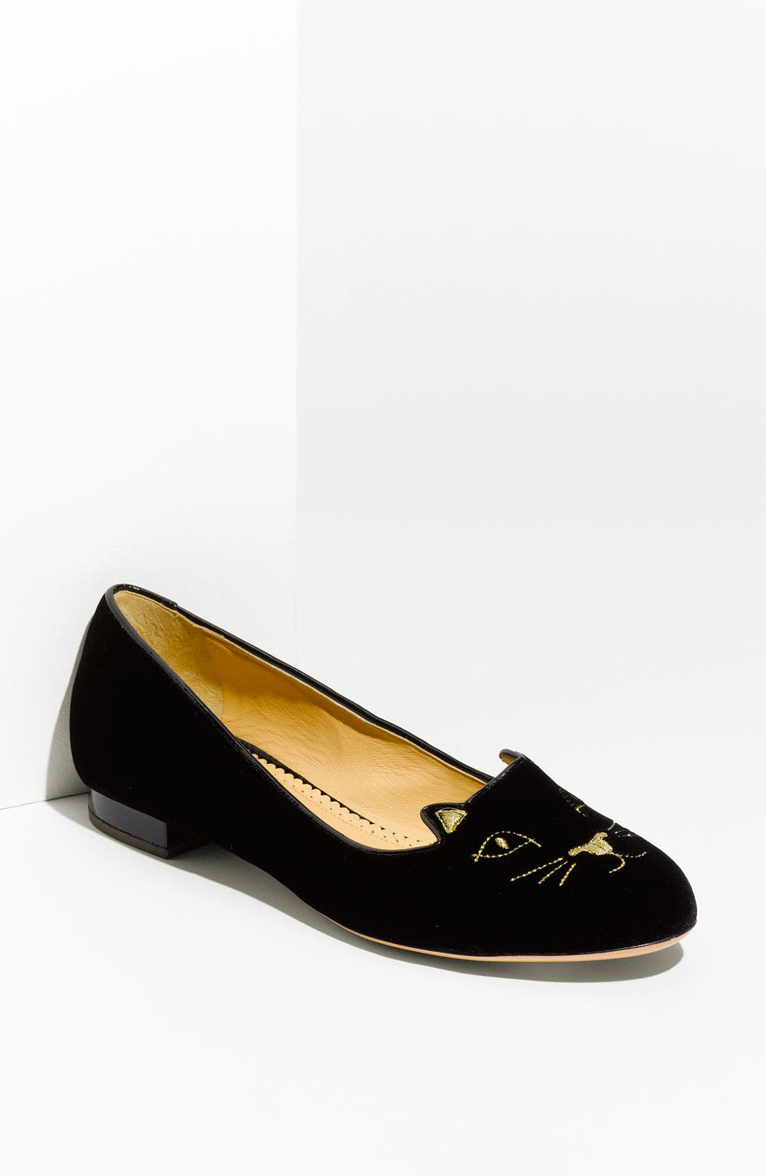 Main Image - Charlotte Olympia Embroidered Cat Velvet Flat