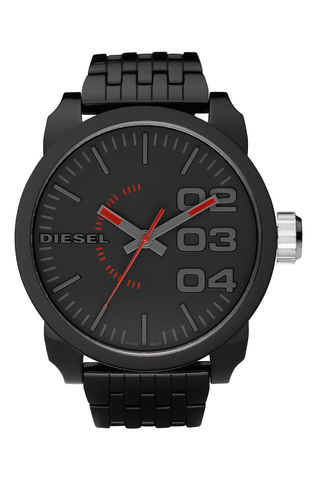 Main Image - DIESEL® 'Franchise' Oversized Round Bracelet Watch, 59mm x 67mm