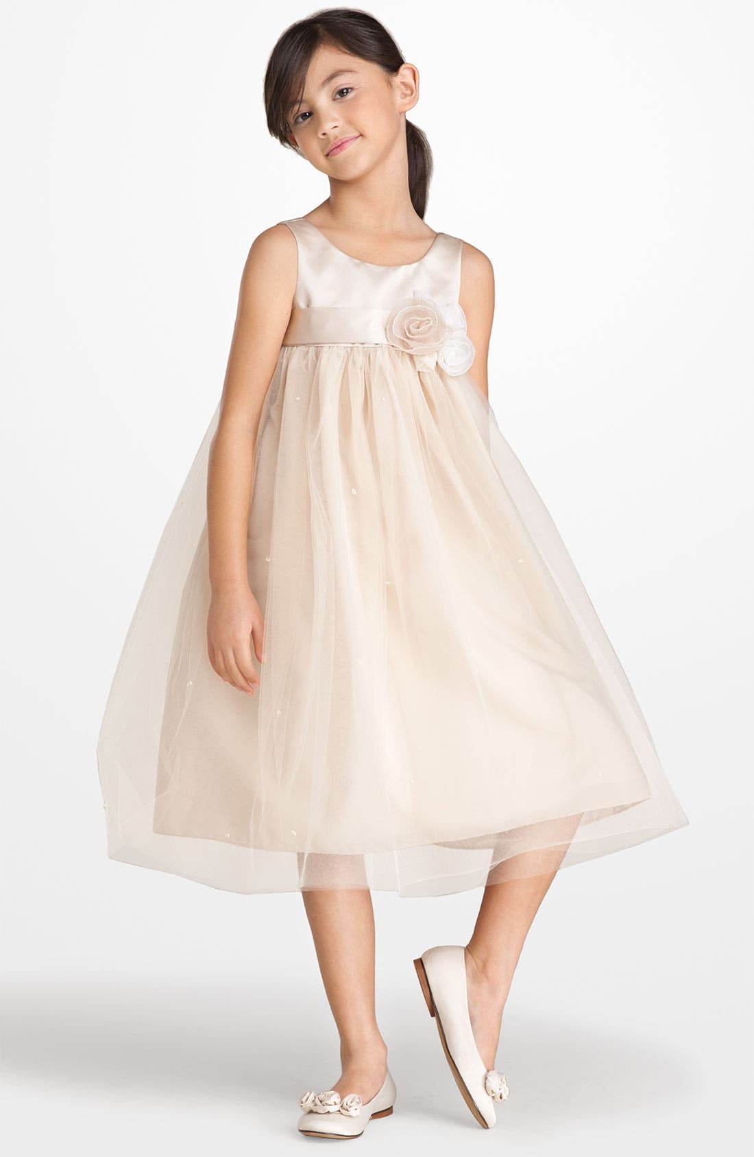 Alternate Image 1 Selected - Us Angels Sleeveless Satin & Tulle Dress (Little Girls)