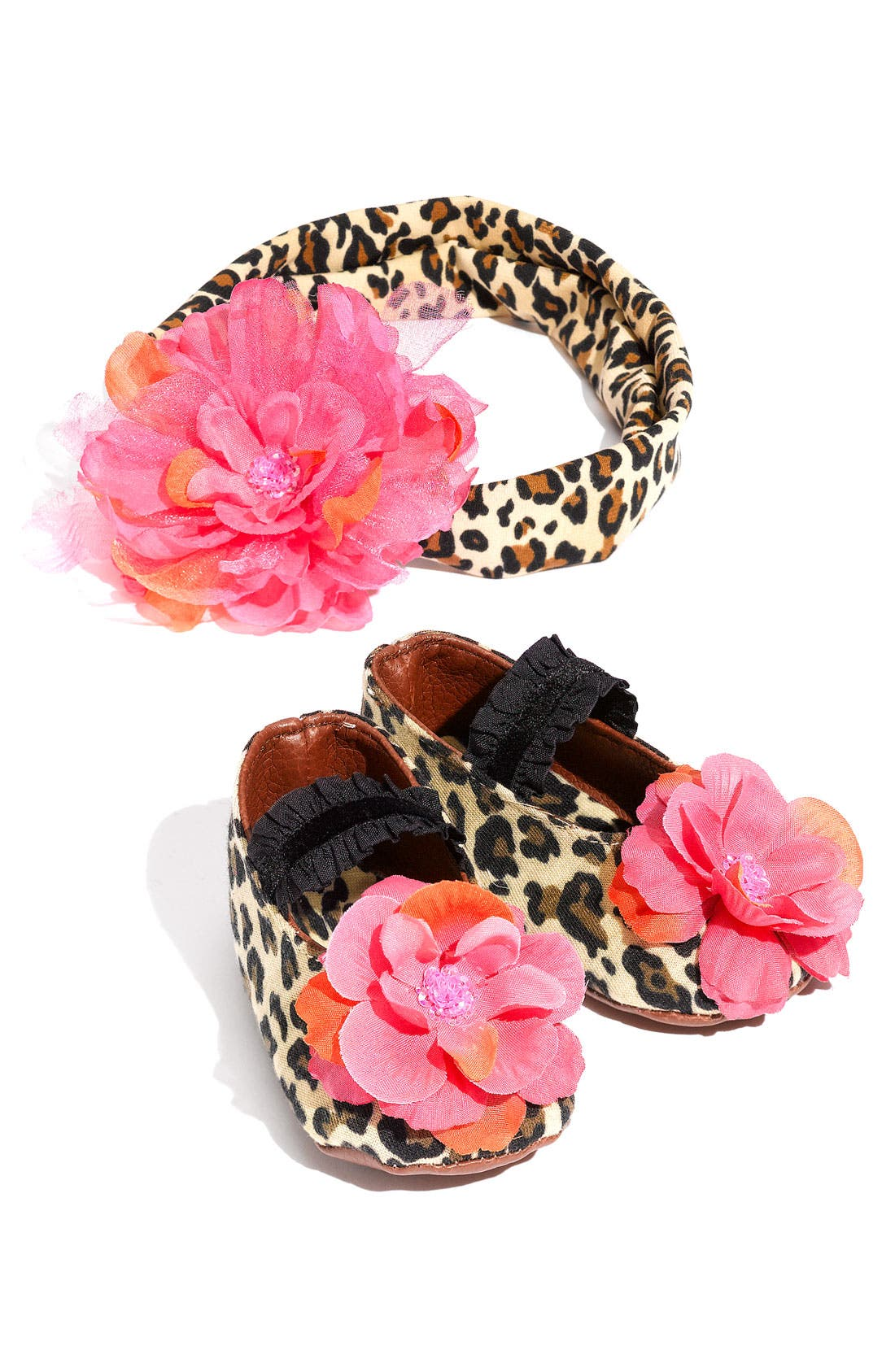 Main Image - PLH Bows & Laces Animal Print Shoes & Headband Set (Baby)