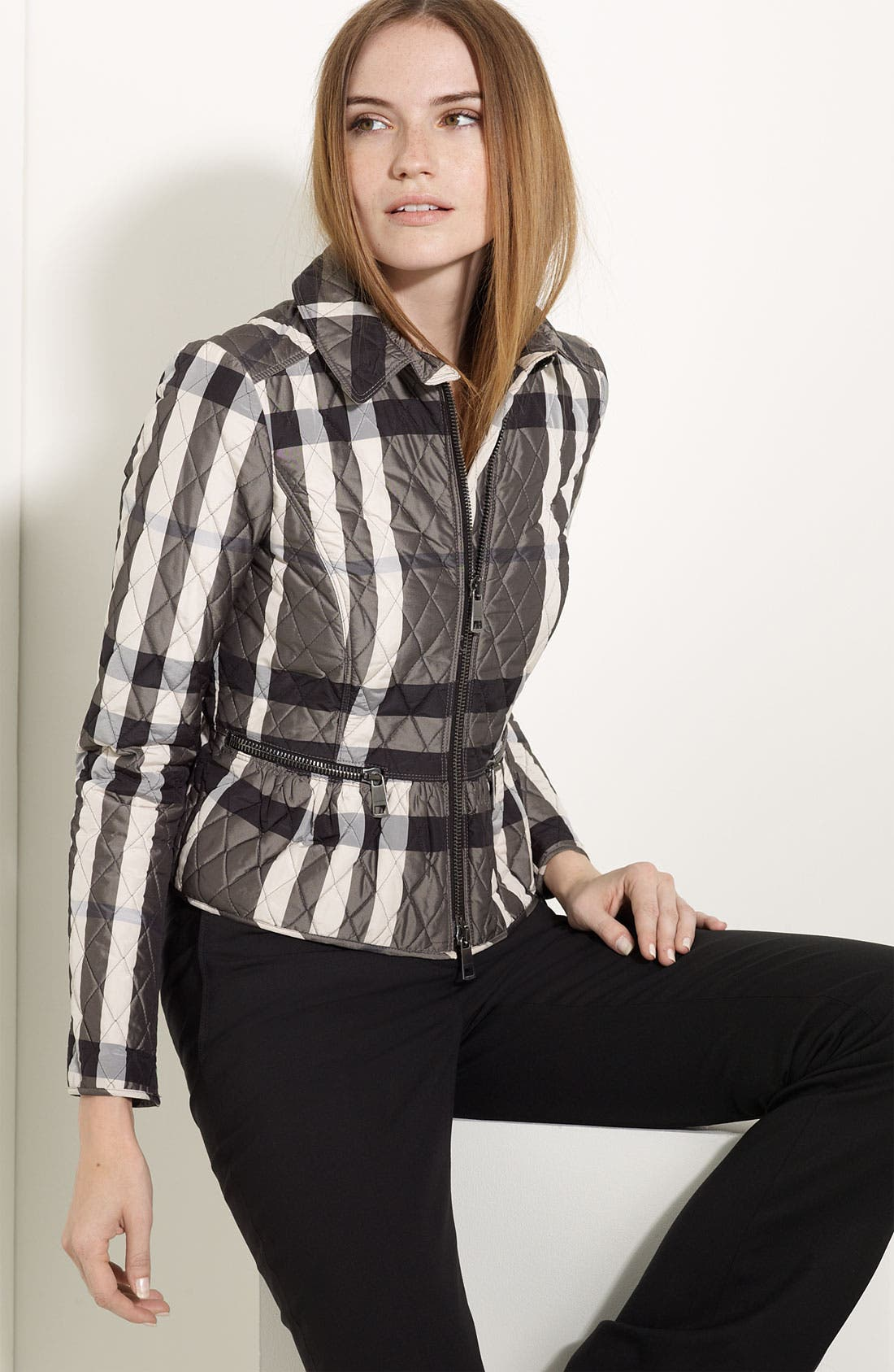 Alternate Image 1 Selected - Burberry London Quilted Check Print Jacket
