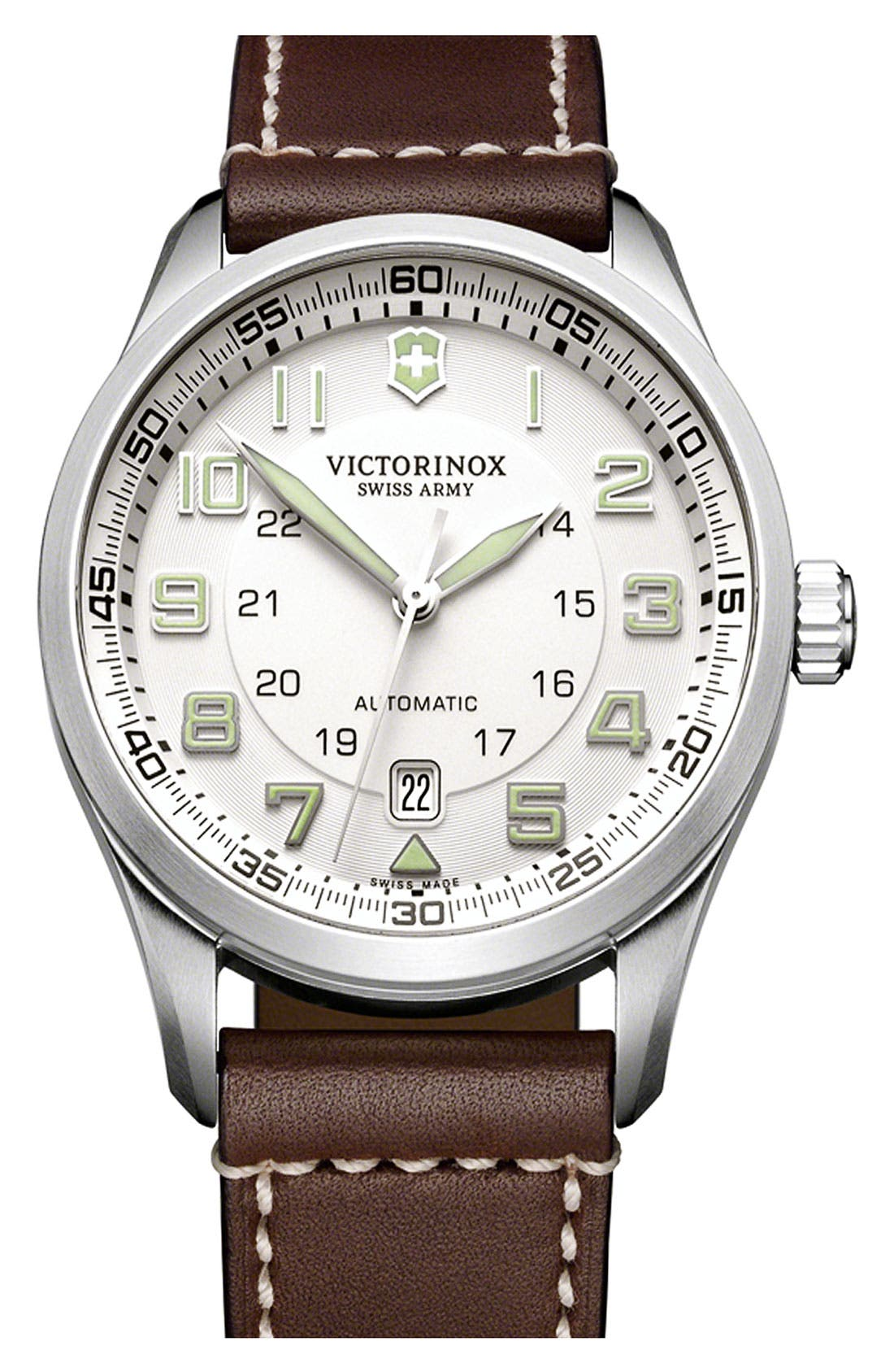 Main Image - Victorinox Swiss Army® 'Airboss' Automatic Leather Strap Watch, 42mm