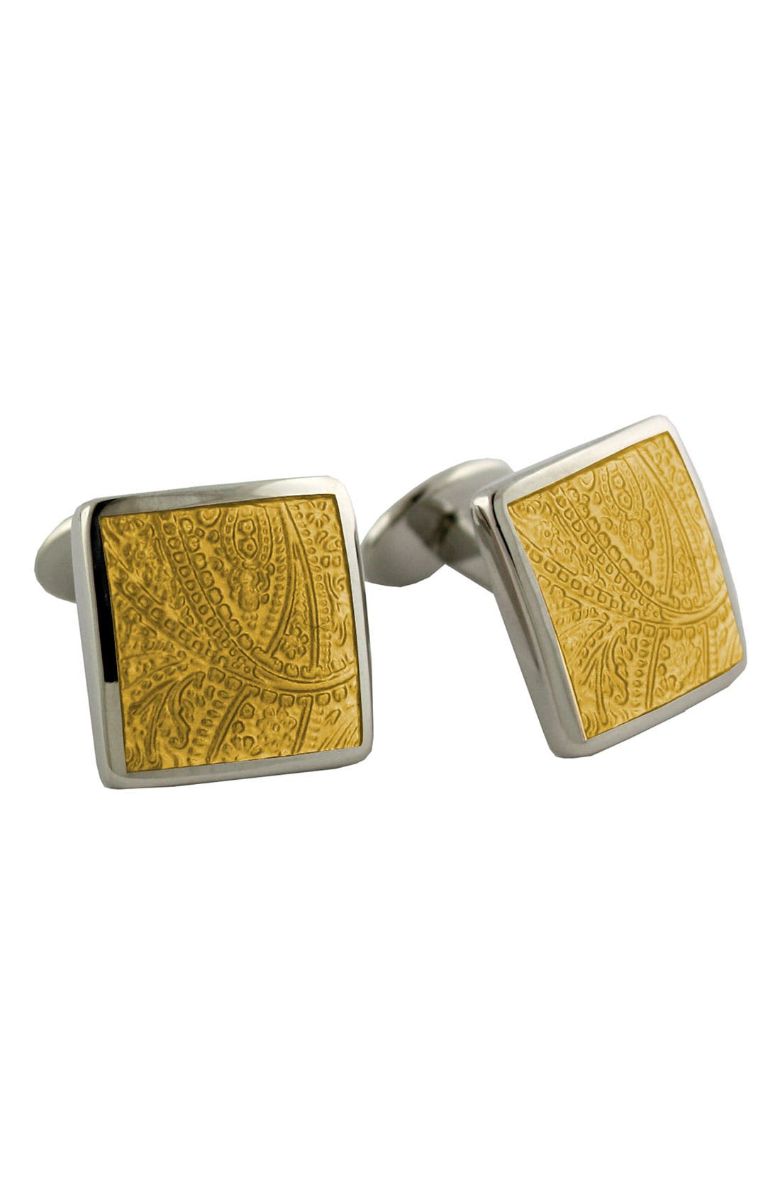 Alternate Image 1 Selected - David Donahue 'Paisley Lemon' Sterling Silver Cuff Links