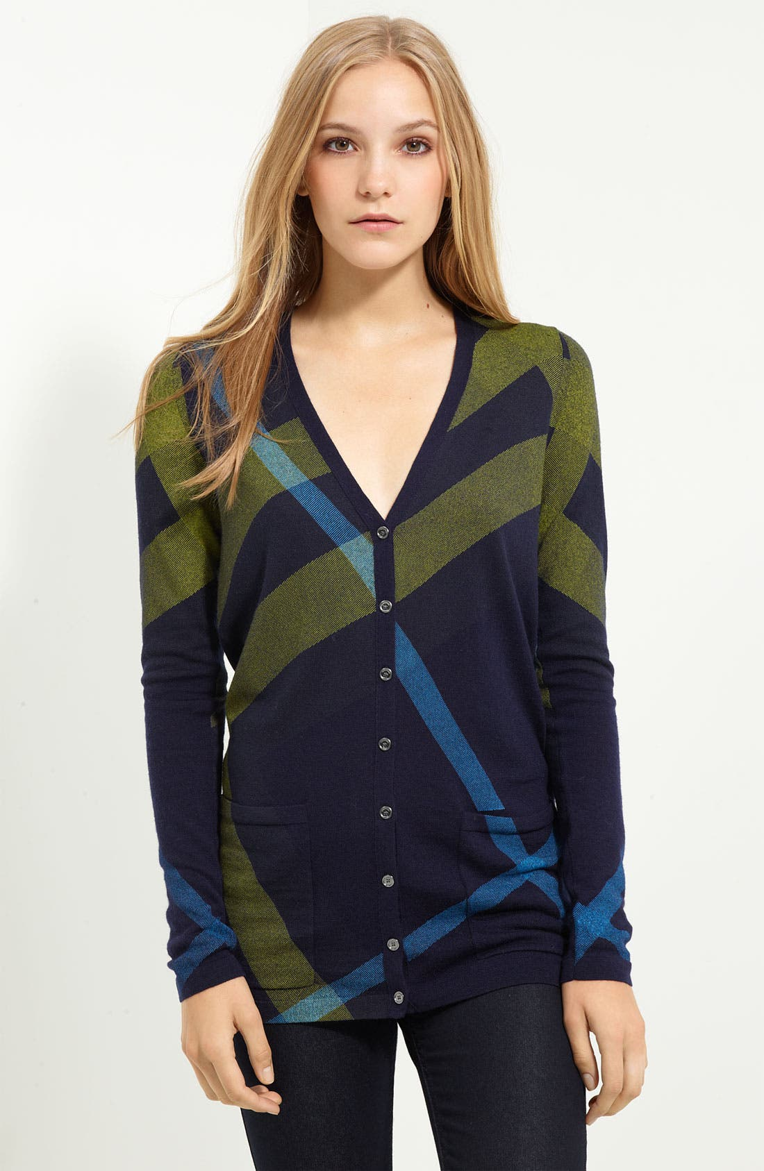 Alternate Image 1 Selected - Burberry Brit Check Pattern Cardigan