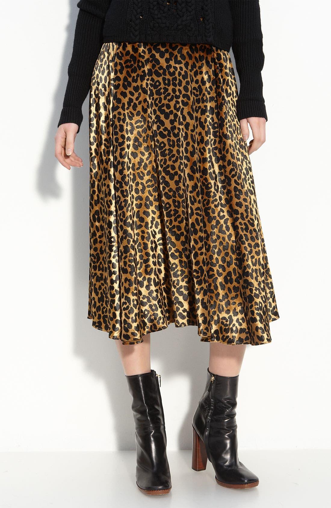 'Sphinx' Velvet Midi Skirt,                             Main thumbnail 1, color,                             Dark Butterscotch Multi