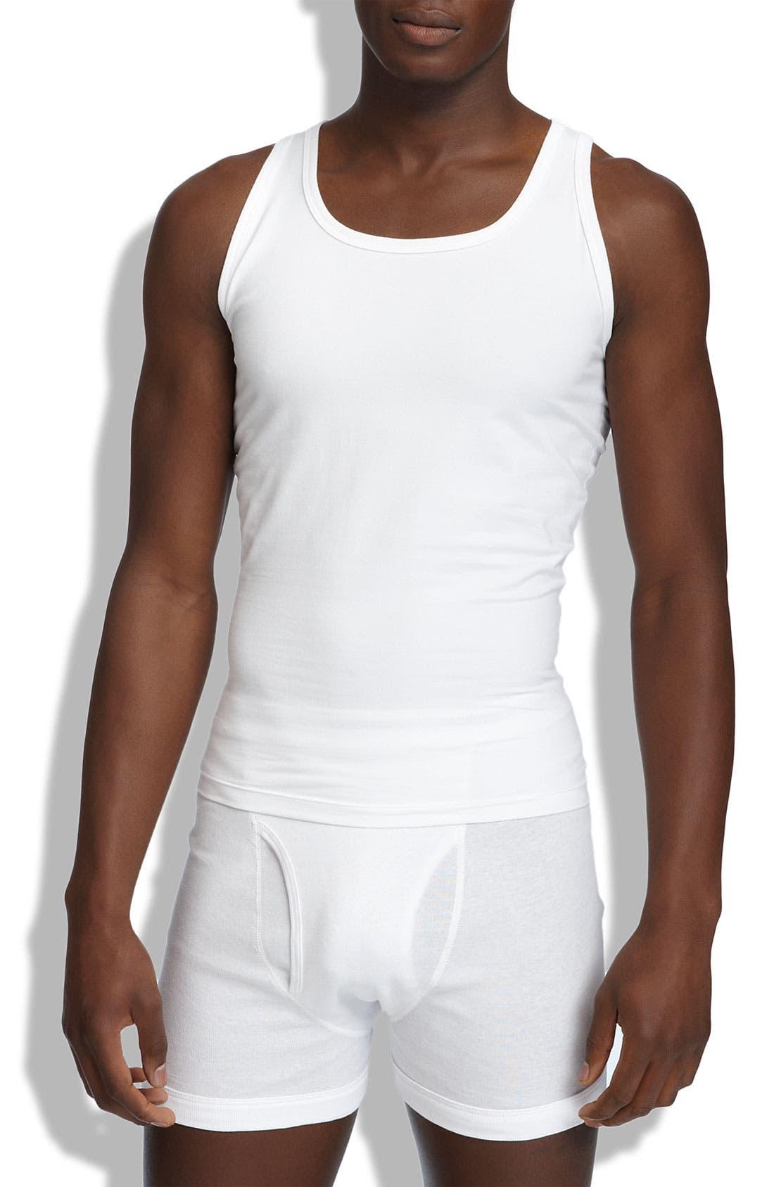 Cotton Compression Tank,                         Main,                         color, White