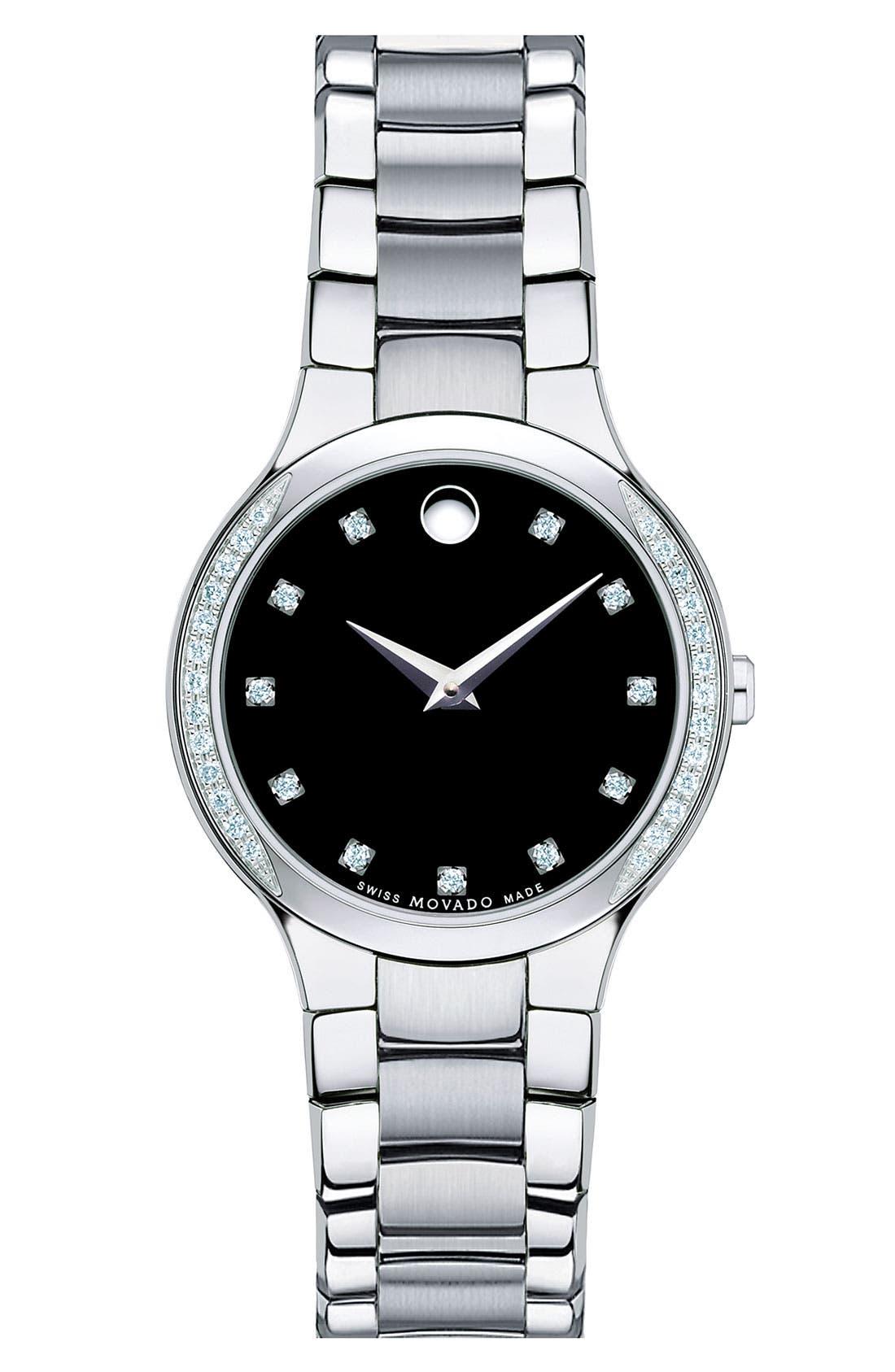 Alternate Image 1 Selected - Movado 'Serio' Ladies Diamond Bracelet Watch, 26mm
