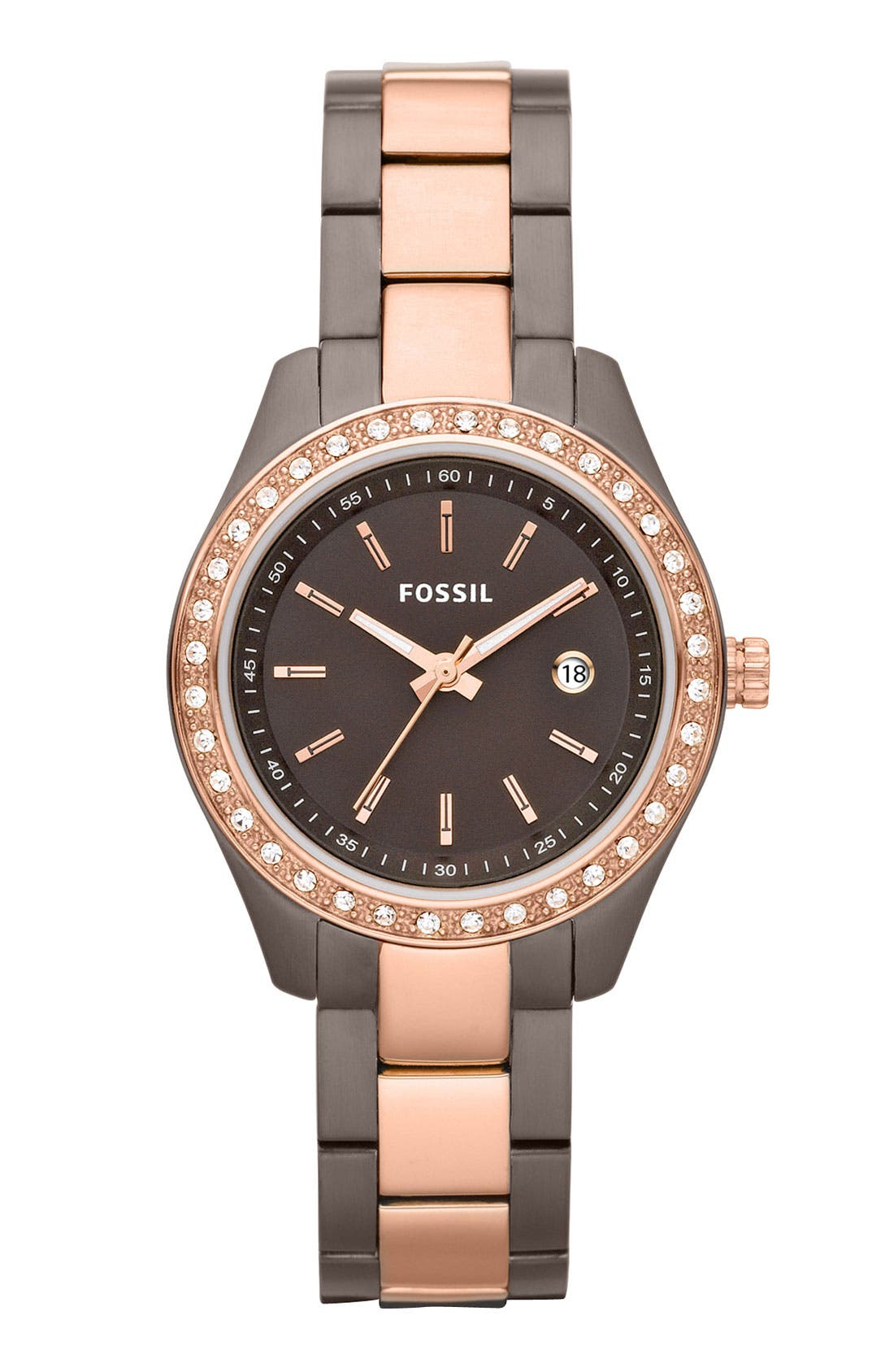 Alternate Image 1 Selected - Fossil 'Mini Stella' Crystal Two Tone Bracelet Watch, 30mm