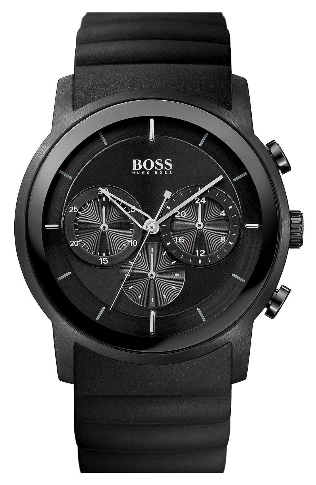 Main Image - BOSS HUGO BOSS Round Chronograph Rubber Strap Watch, 42mm