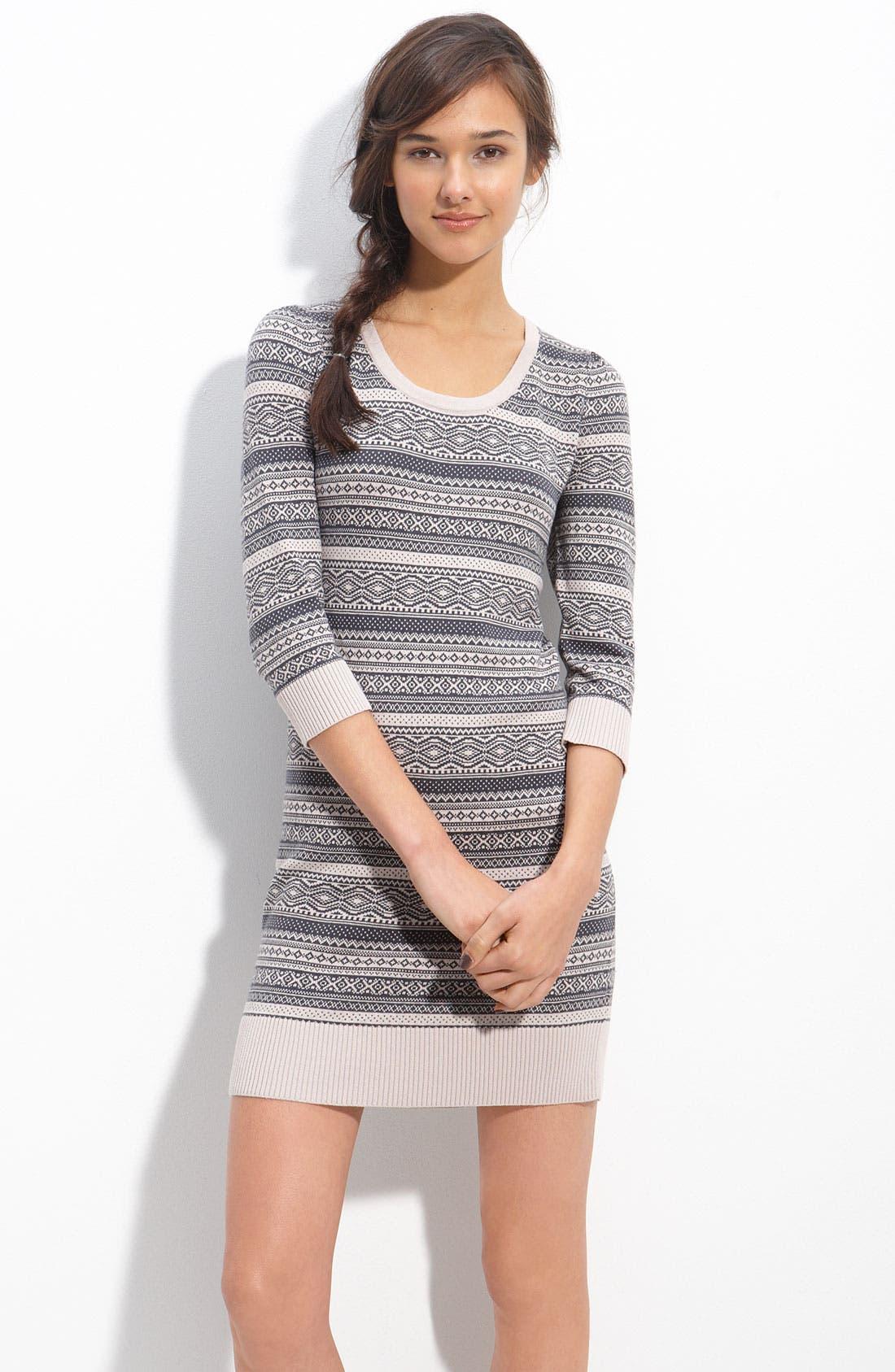 Main Image - Frenchi® Ribbed Trim Sweater Dress (Juniors)